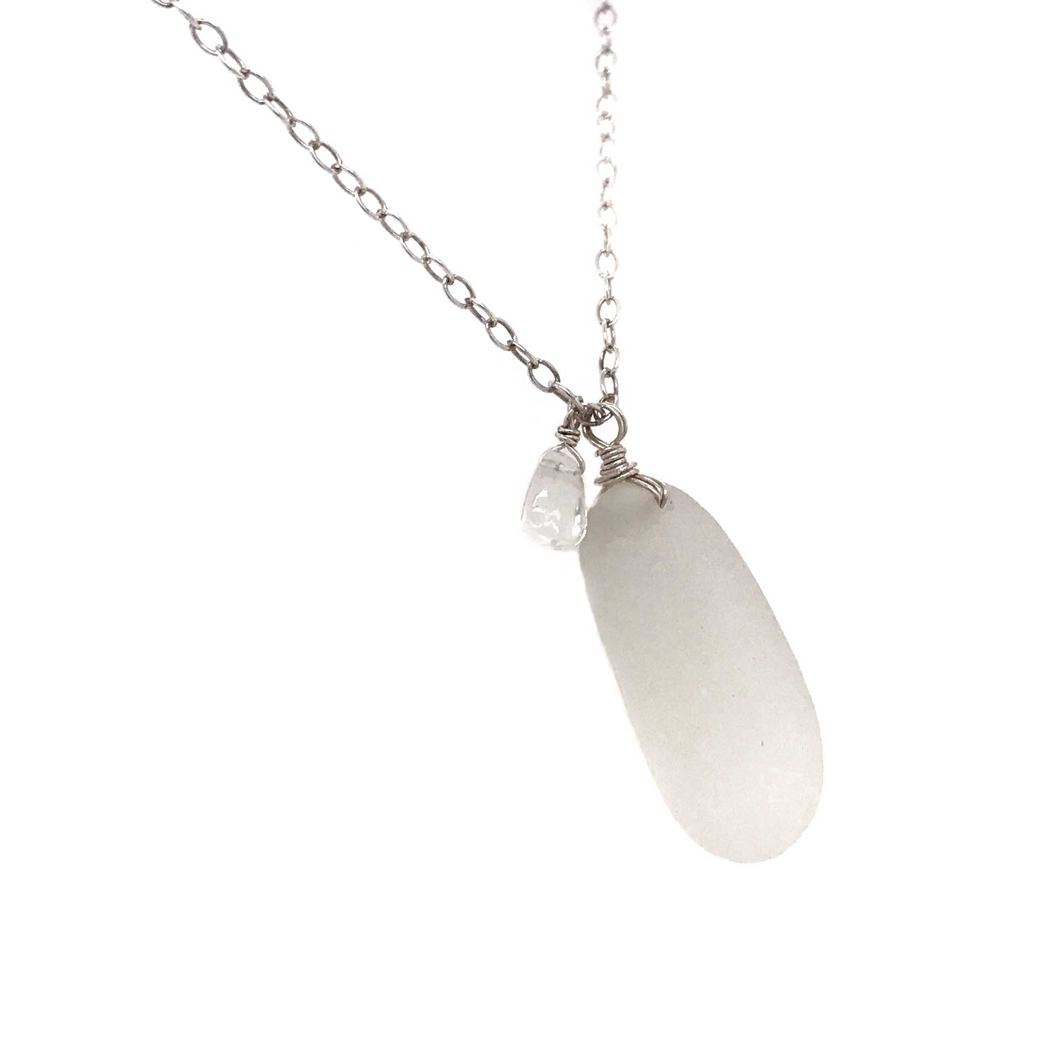 clear sea glass necklace sterling silver chain large teardrop aquamarine stone kriket broadhurst jewellery Sydney