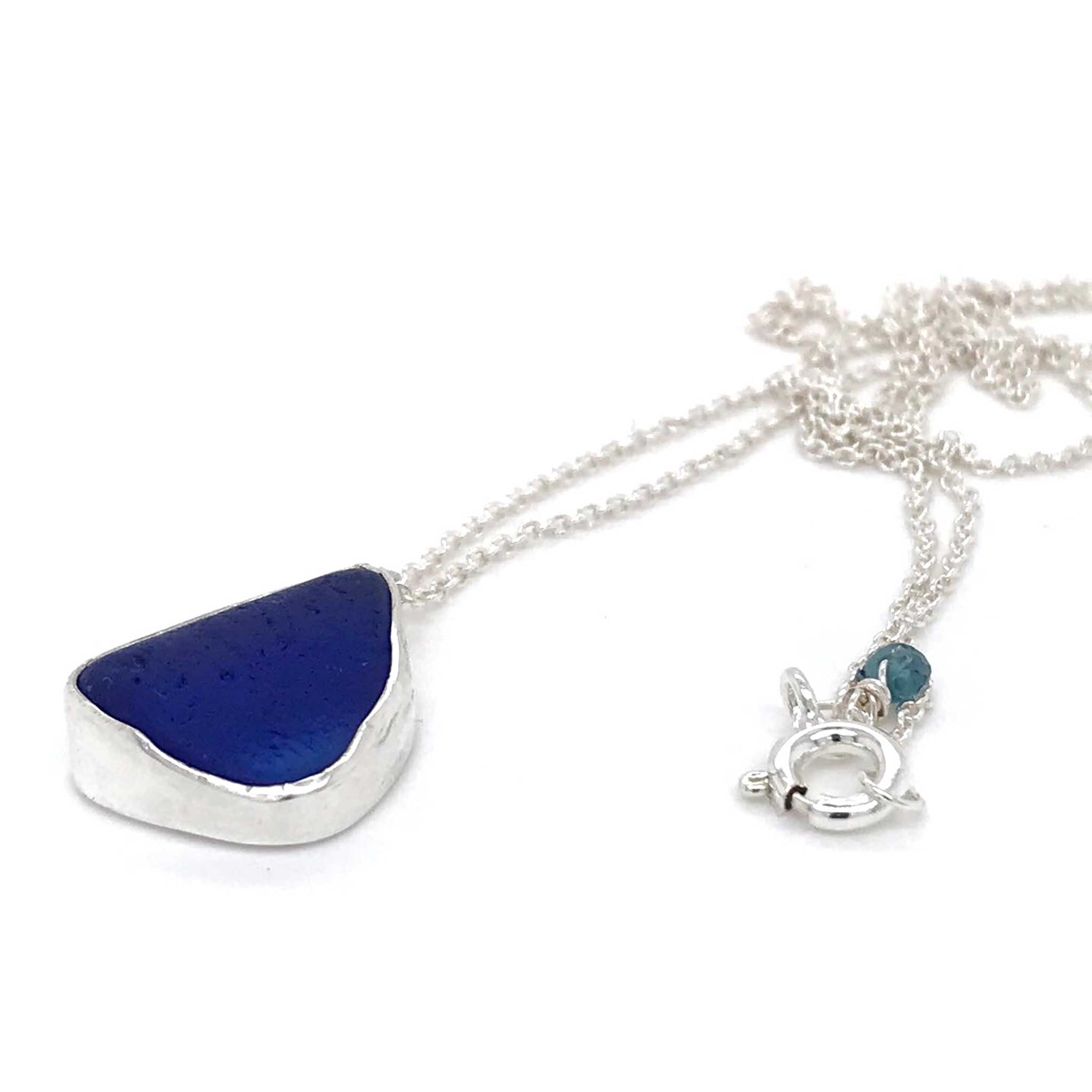 Cobalt Blue Necklace Bezel Set in Sterling Silver