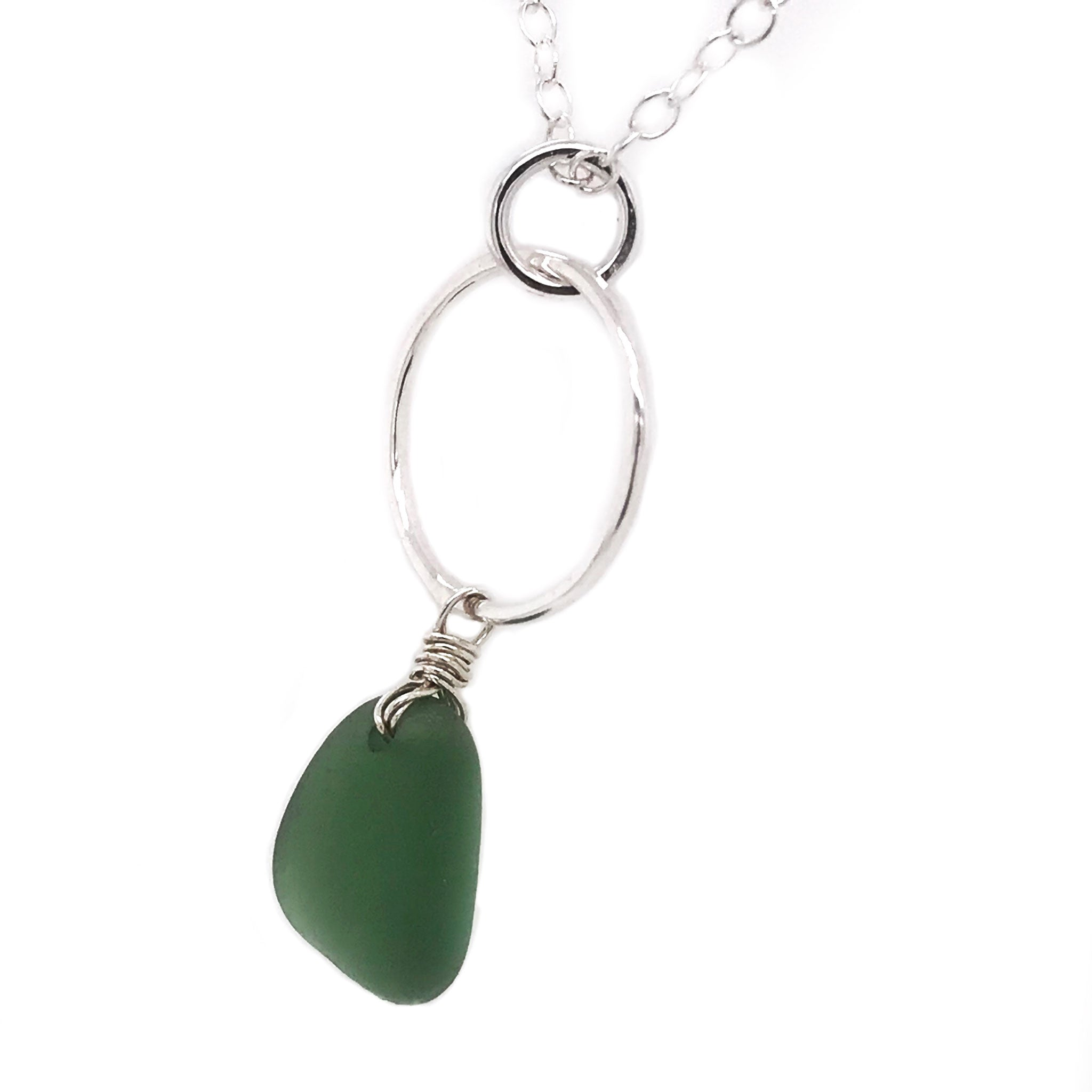 green beach glass on sterling silver necklace circle design kriket broadhurst jewellery