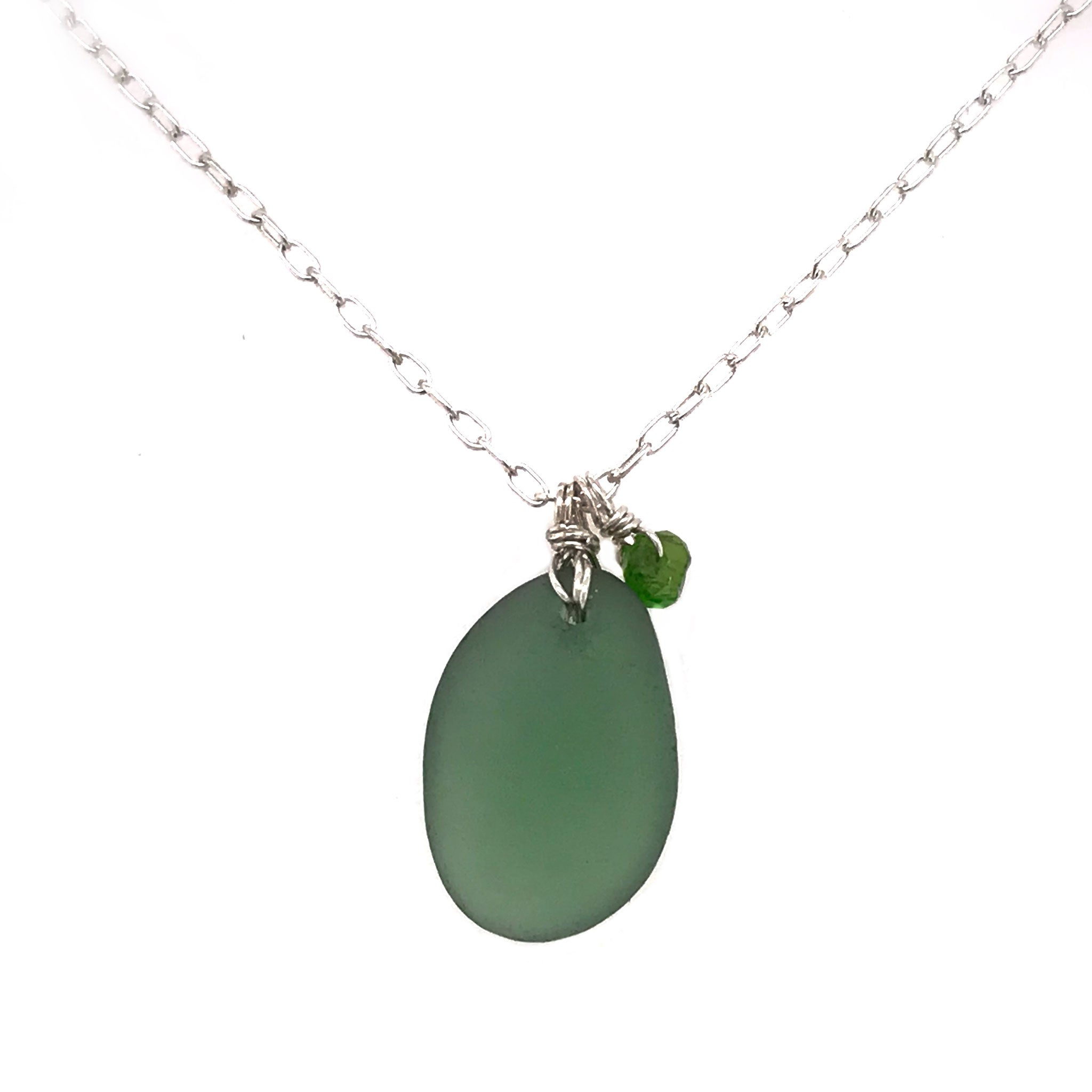 green beach glass on sterling silver necklace with tsavorite stones kriket Broadhurst jewellery