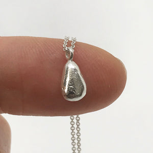 Silver Teardrop Seaglass Charm Necklace