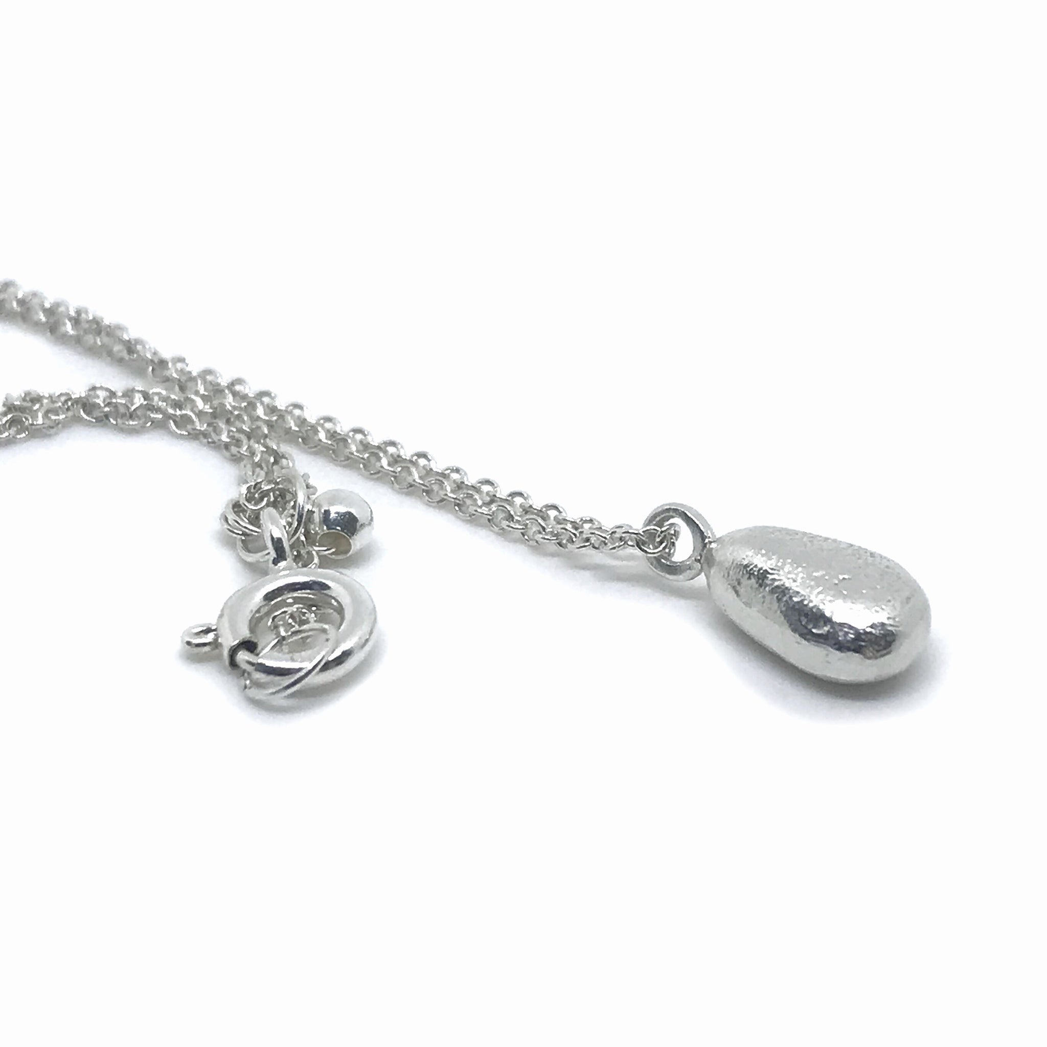 Silver Necklace with Teardrop Seaglass Charm  - kriket-broadhurst jewellery