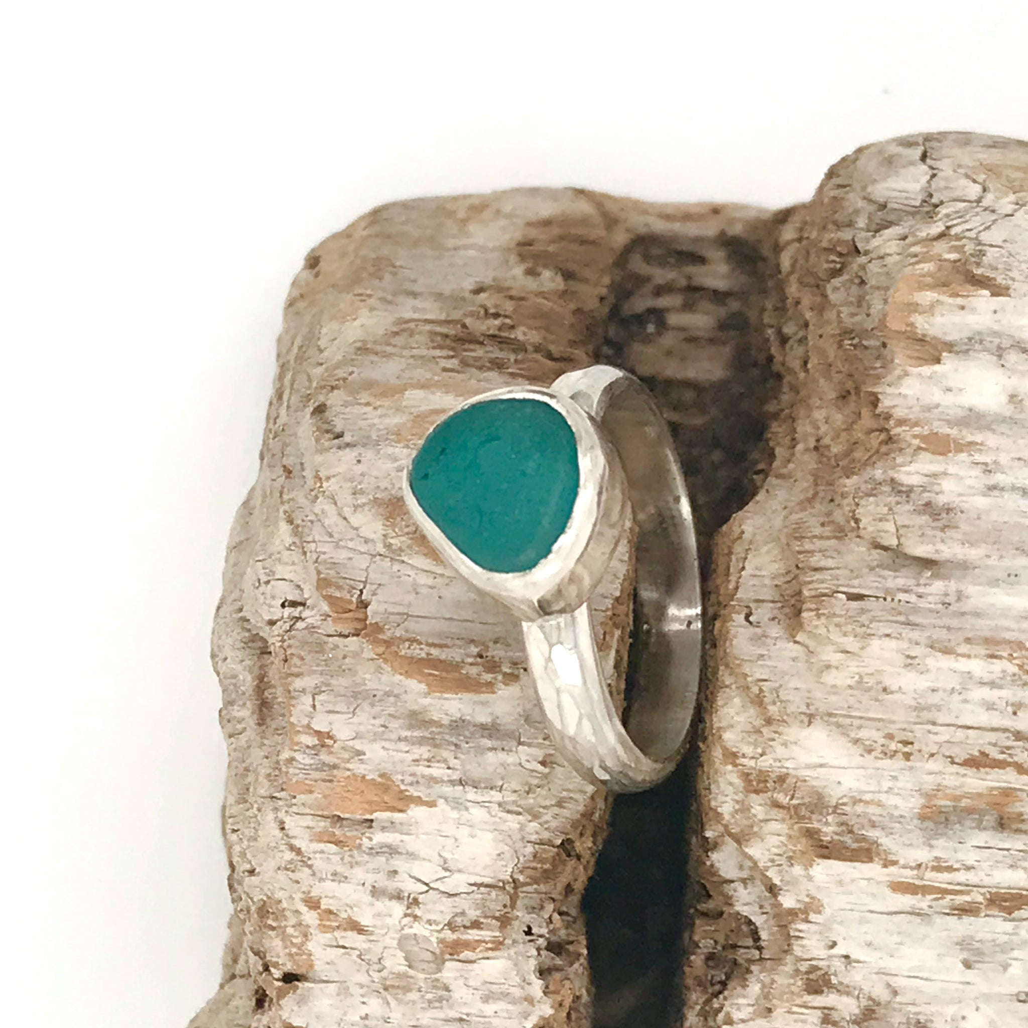Teal Seaglass Ring – Sterling Silver Shank and Bezel