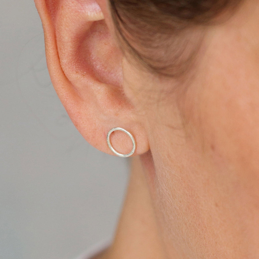 Sterling Silver Earrings – Matte Hammered Circle Stud Earrings  - kriket-broadhurst jewellery