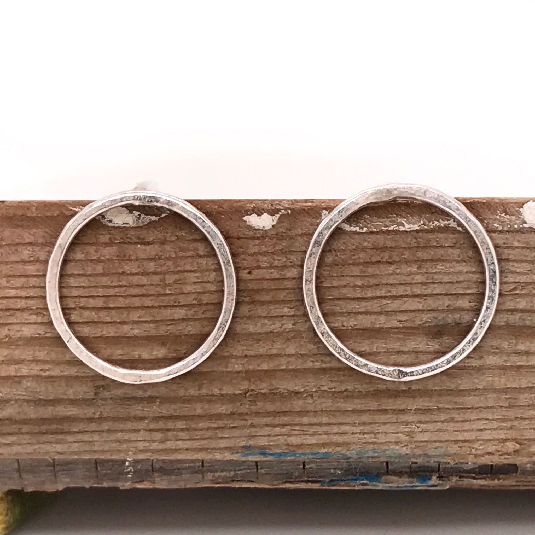 Sterling Silver open circle earrings – Matte Hammered Circle Stud Earrings  - kriket-broadhurst minimalist jewellery