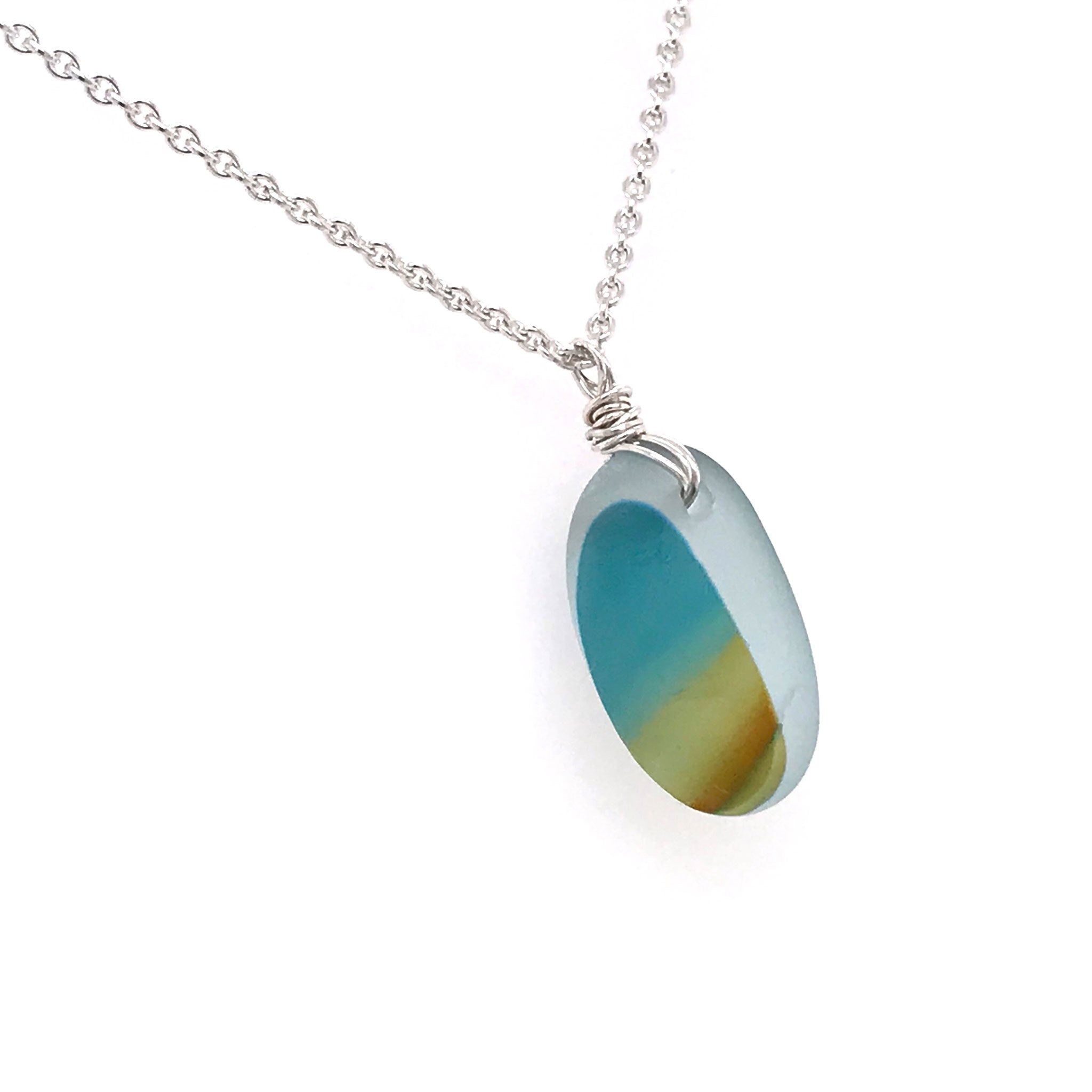 teal and amber multi-coloured seaglass necklace on sterling silver chain Kriket Broadhurst jewelry