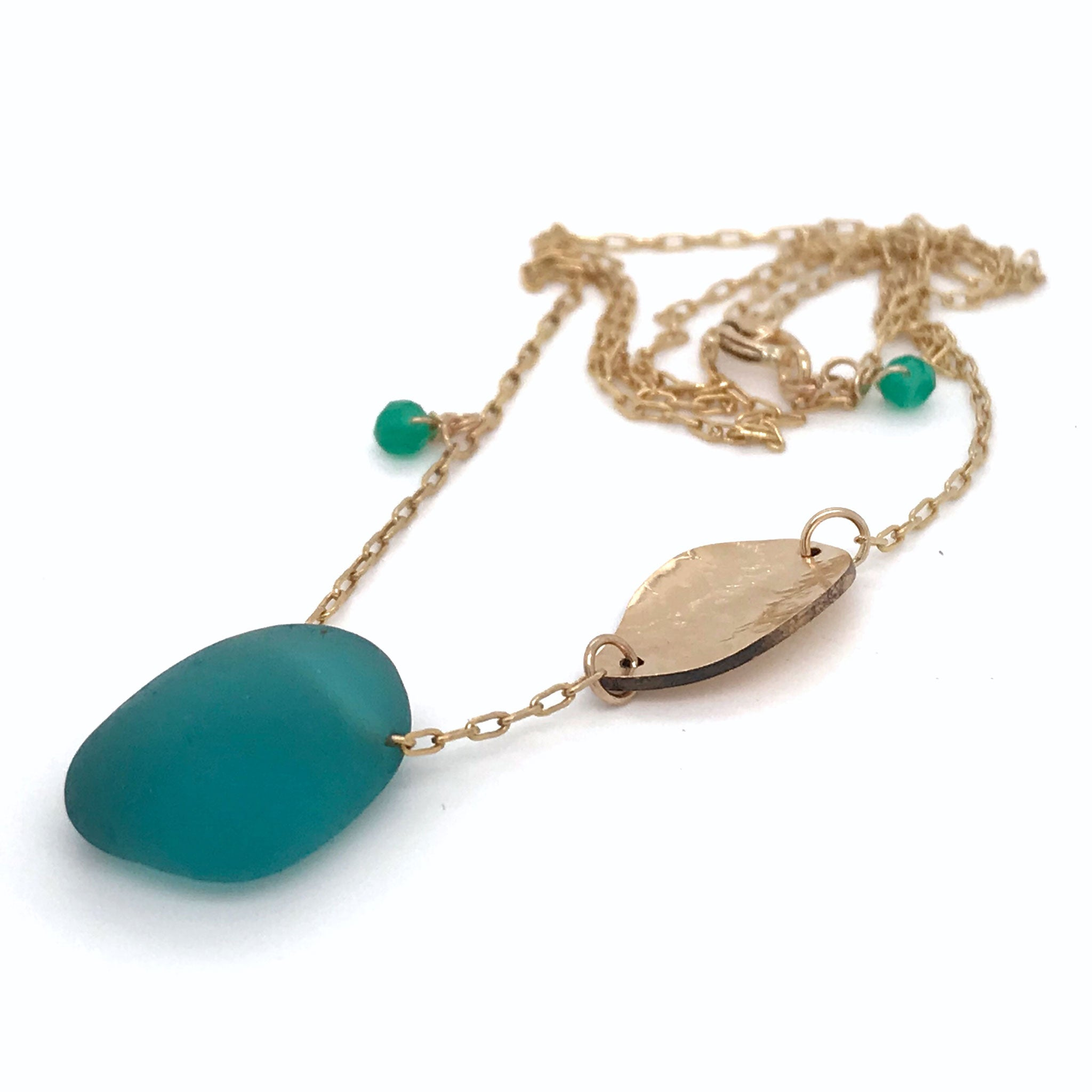 teal seaglass necklace with gold leaf charm Kriket Broadhurst jewellery