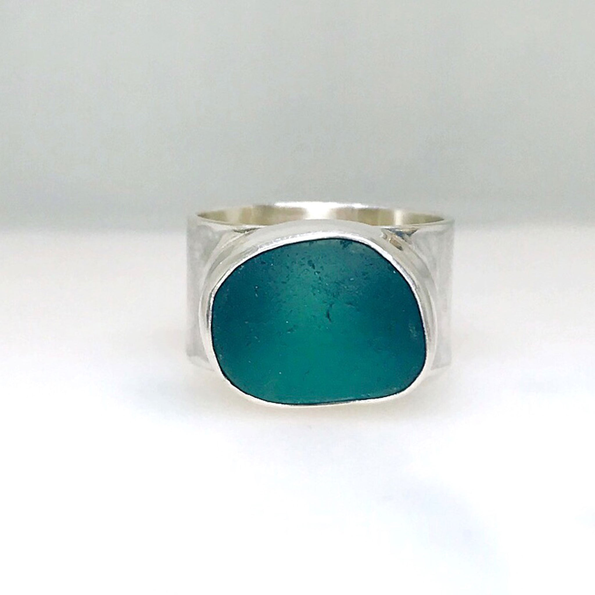 teal blue seaglass ring sterling silver kriket Broadhurst jewellery