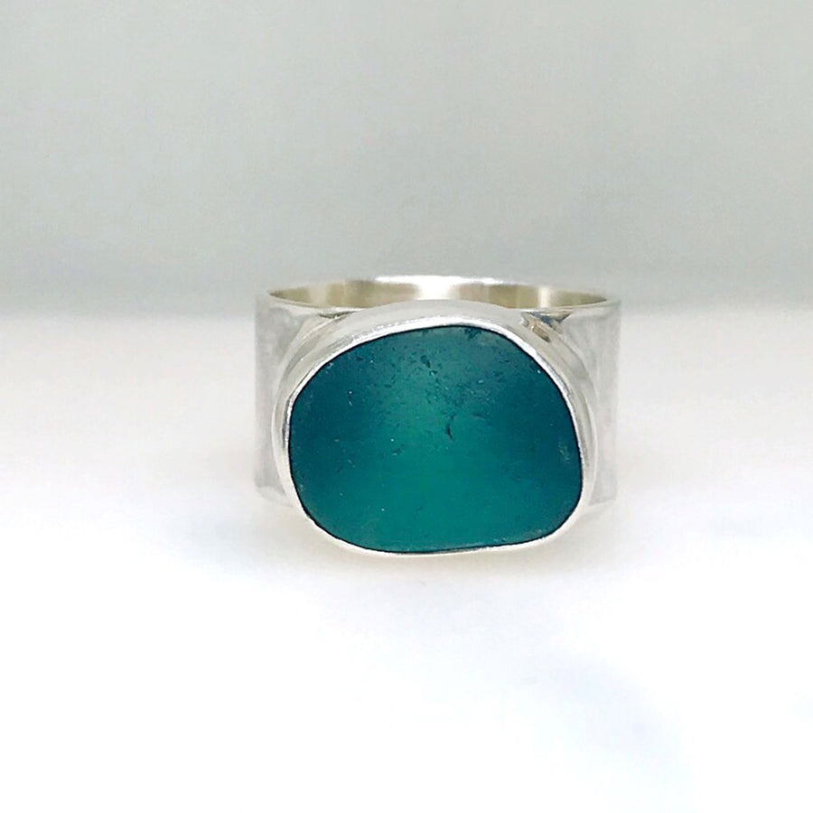 sterling silver ring with teal blue seaglass kriket Broadhurst jewellery