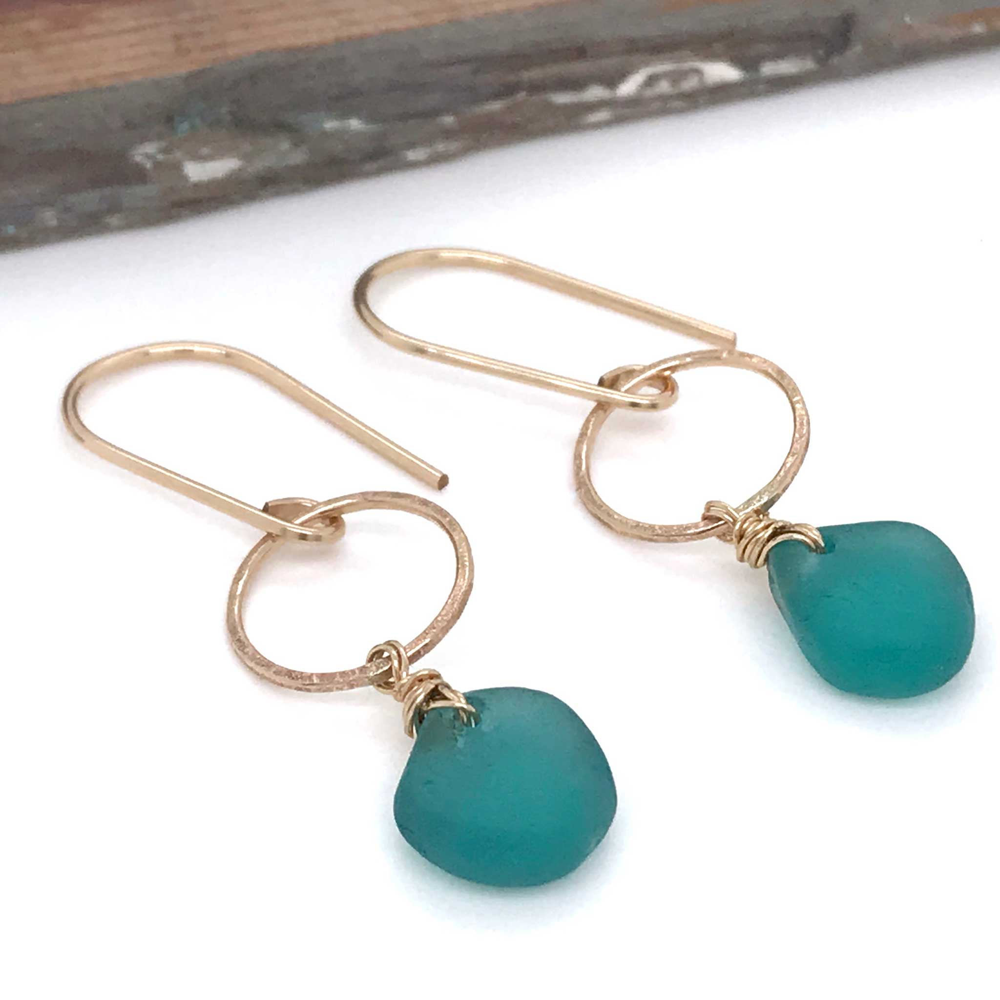 teal green seaglass earrings gold open circle design kriket broadhurst jewellery