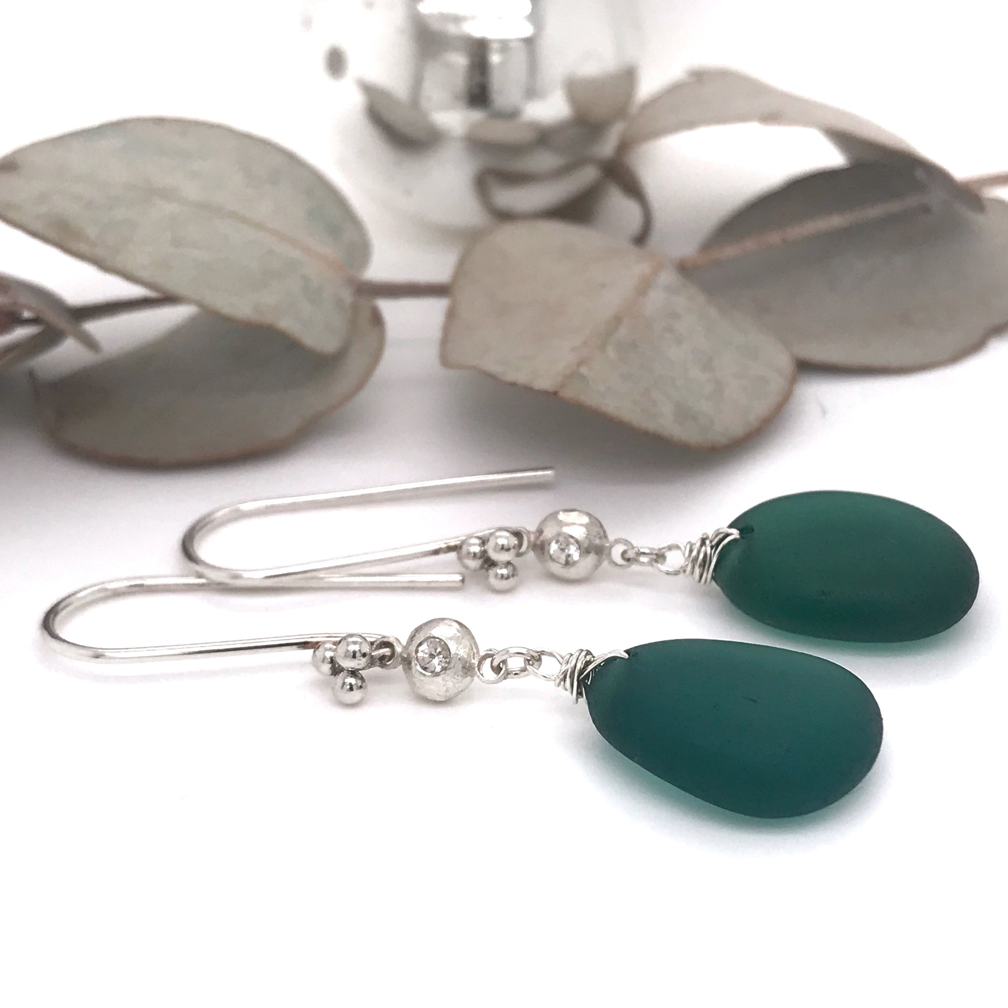 teal-green-earrings-sterling-silver-with-white-sapphires-kriket-broadhurst-christmas-gifts-for-women-Sydney