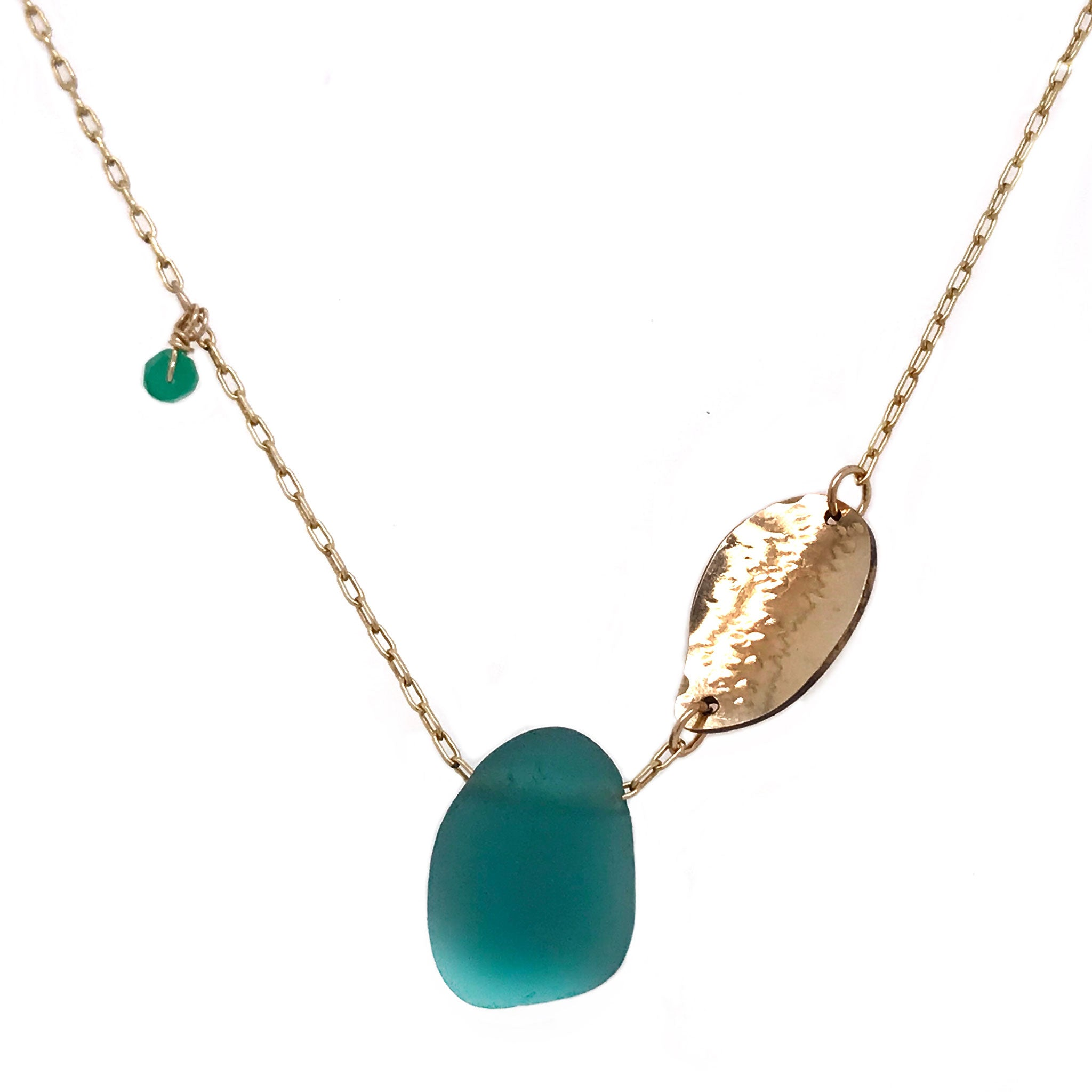 teal green seaglass necklace with gold leaf charm Kriket Broadhurst jewellery