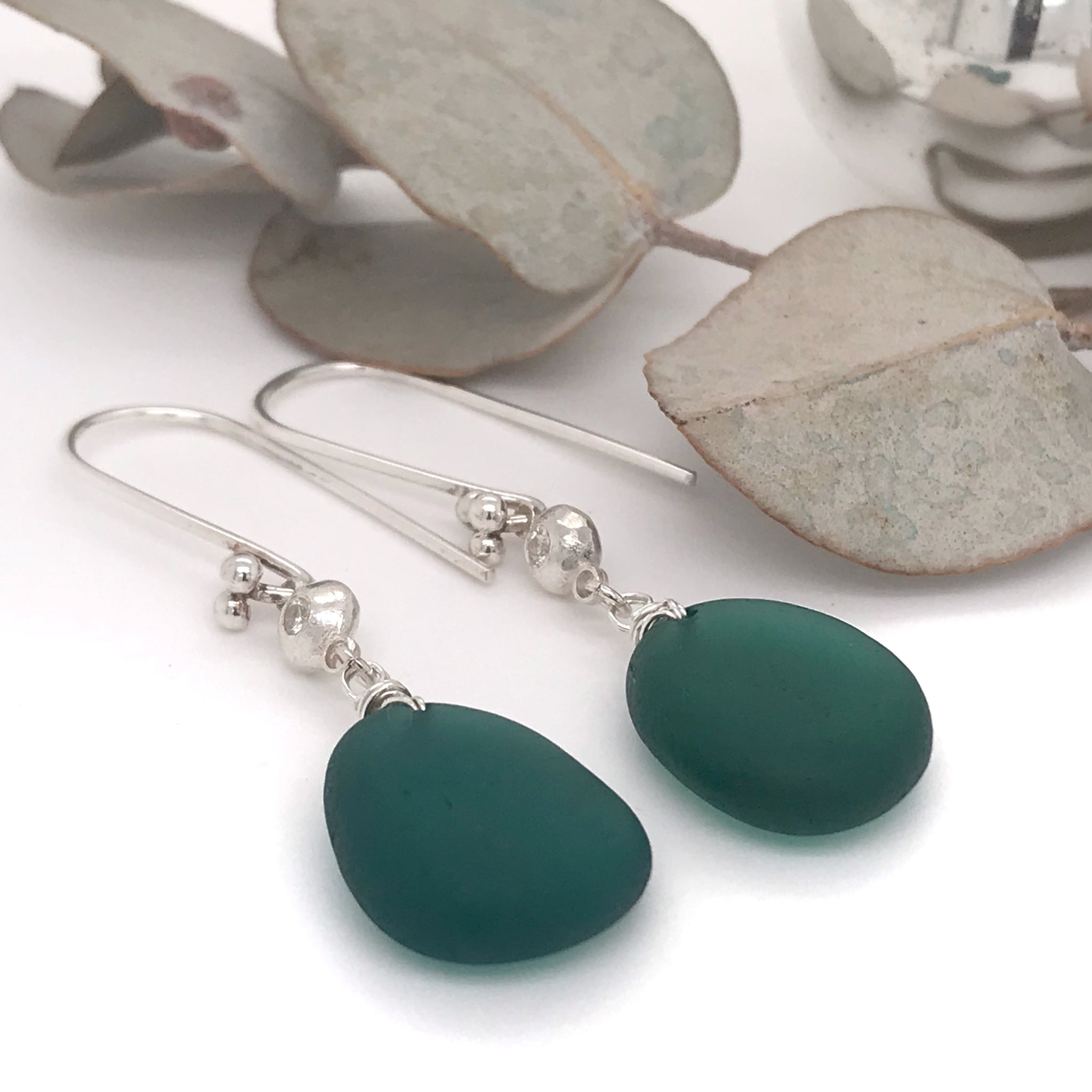 teal-green-sea-glass-earrings-sterling-silver-with-white-sapphires-kriket-broadhurst-jewellery-Australia