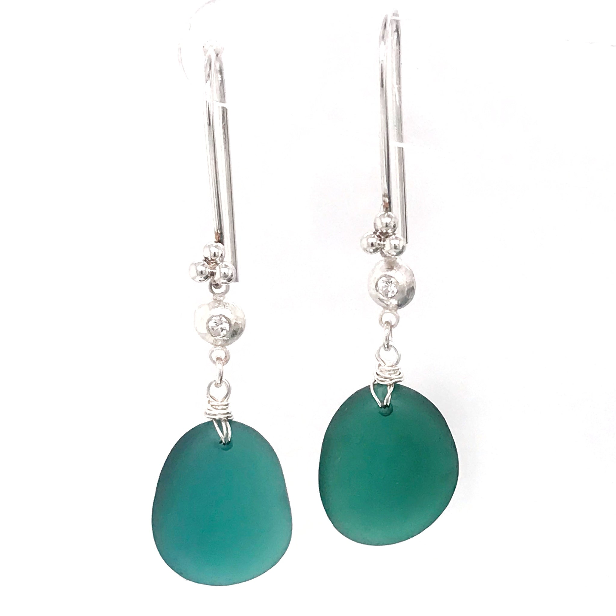 teal-green-sea-glass-earrings-sterling-silver-with-white-sapphires-kriket-broadhurst-jewellery-australia-made