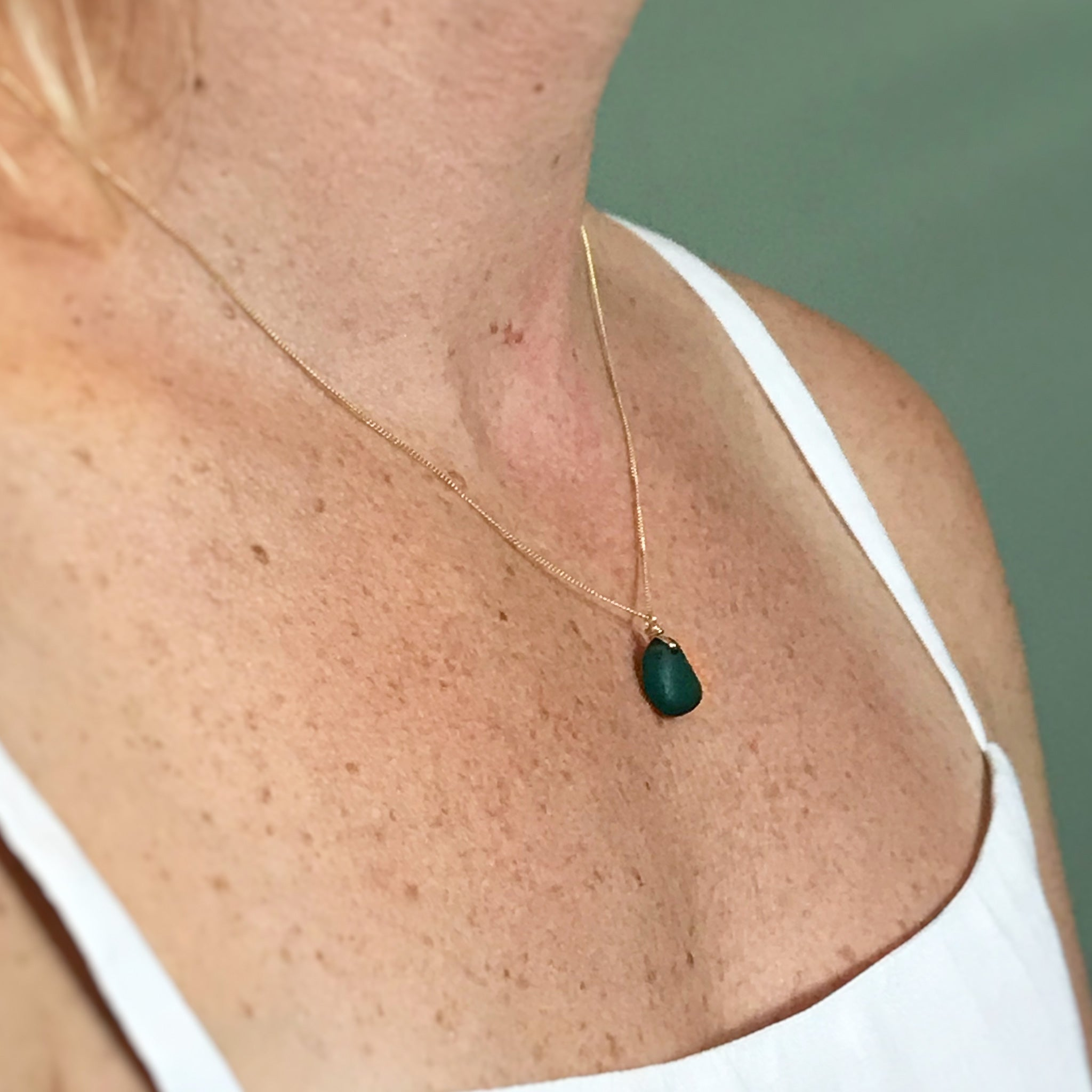 short gold chain with teal seaglass kriket broadhurst jewellery