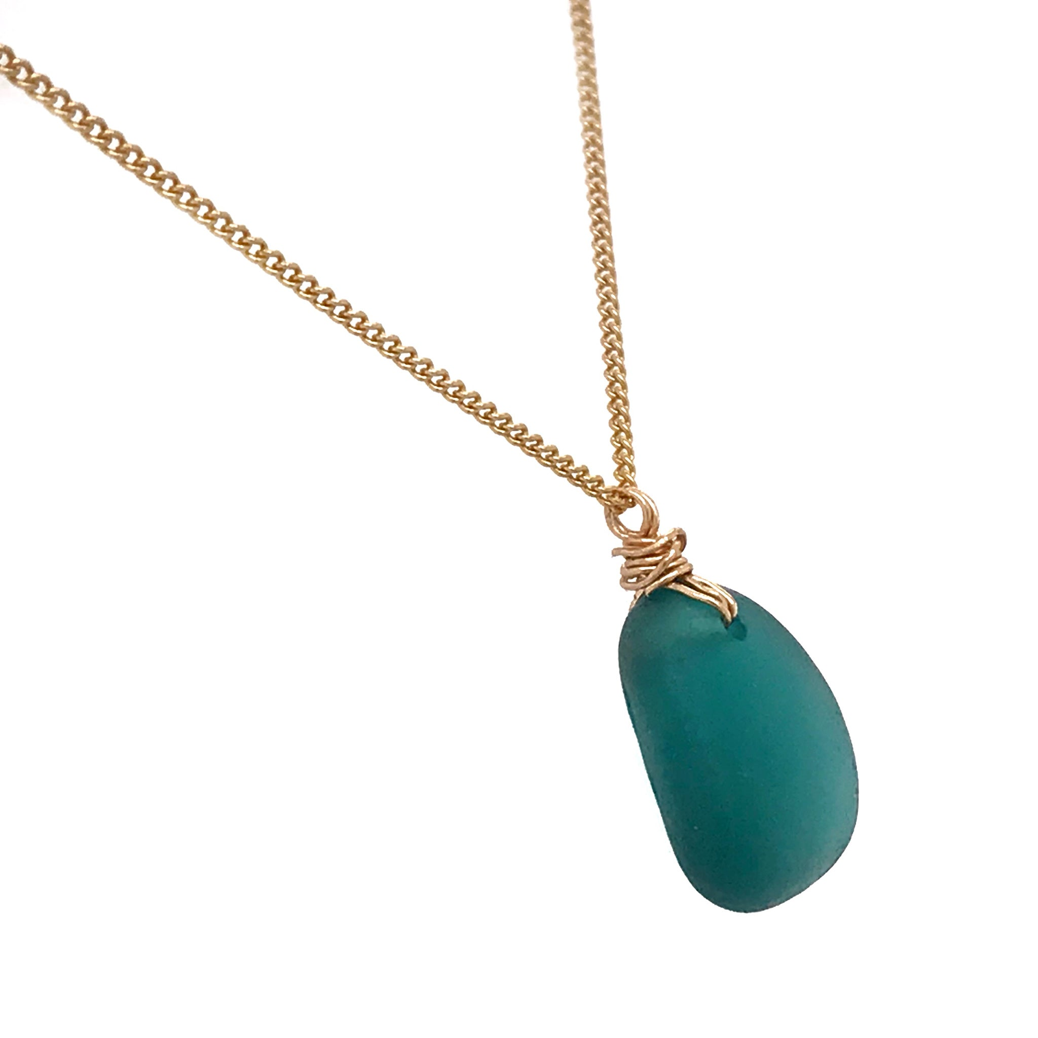 teal green seaglass on gold chain necklace kriket broadhurst jewellery