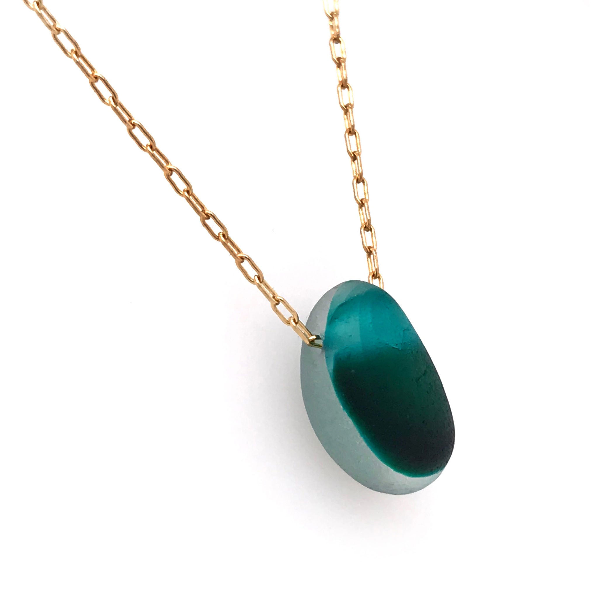 teal and aqua multi-coloured seaglass necklace on gold chain Kriket Broadhurst jewellery Christmas gift