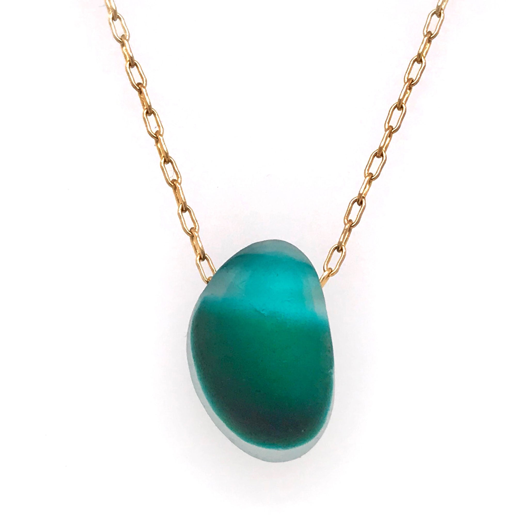gold necklace with teal and aqua multi-coloured seaglass Kriket Broadhurst jewelry