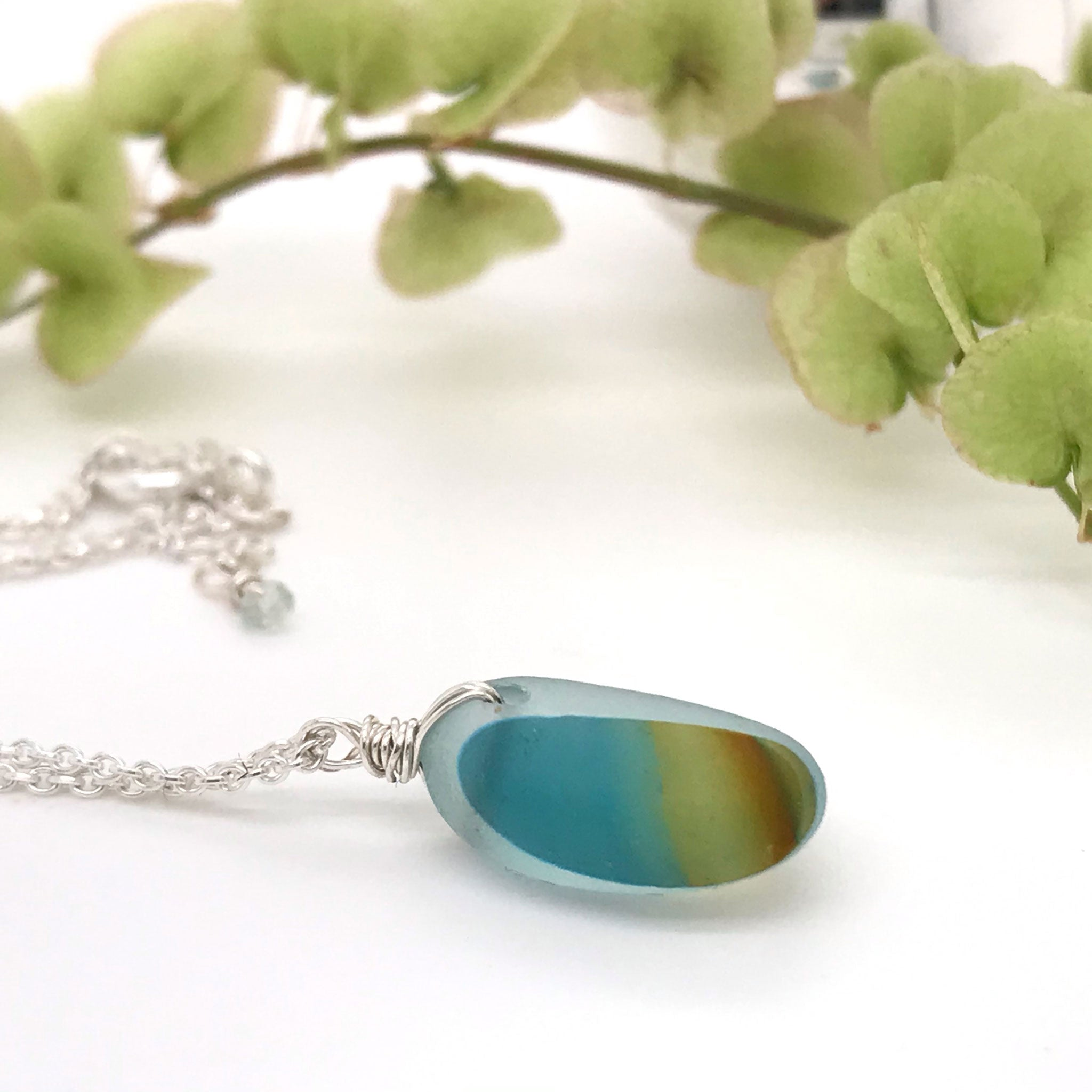teal and amber multi-coloured seaglass necklace on sterling silver chain Kriket Broadhurst jewellery