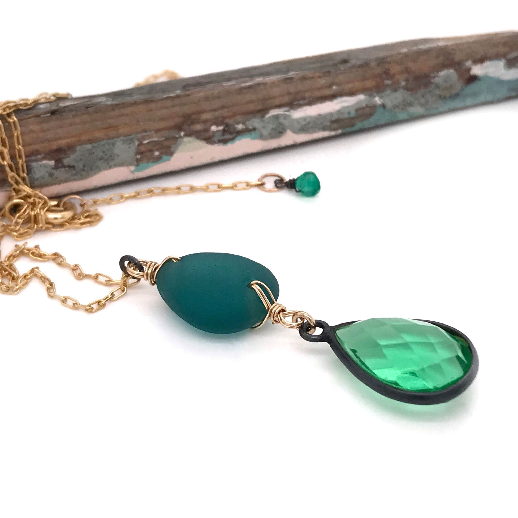 gold necklace with teal seaglass and green quartz kriket Broadhurst jewellery