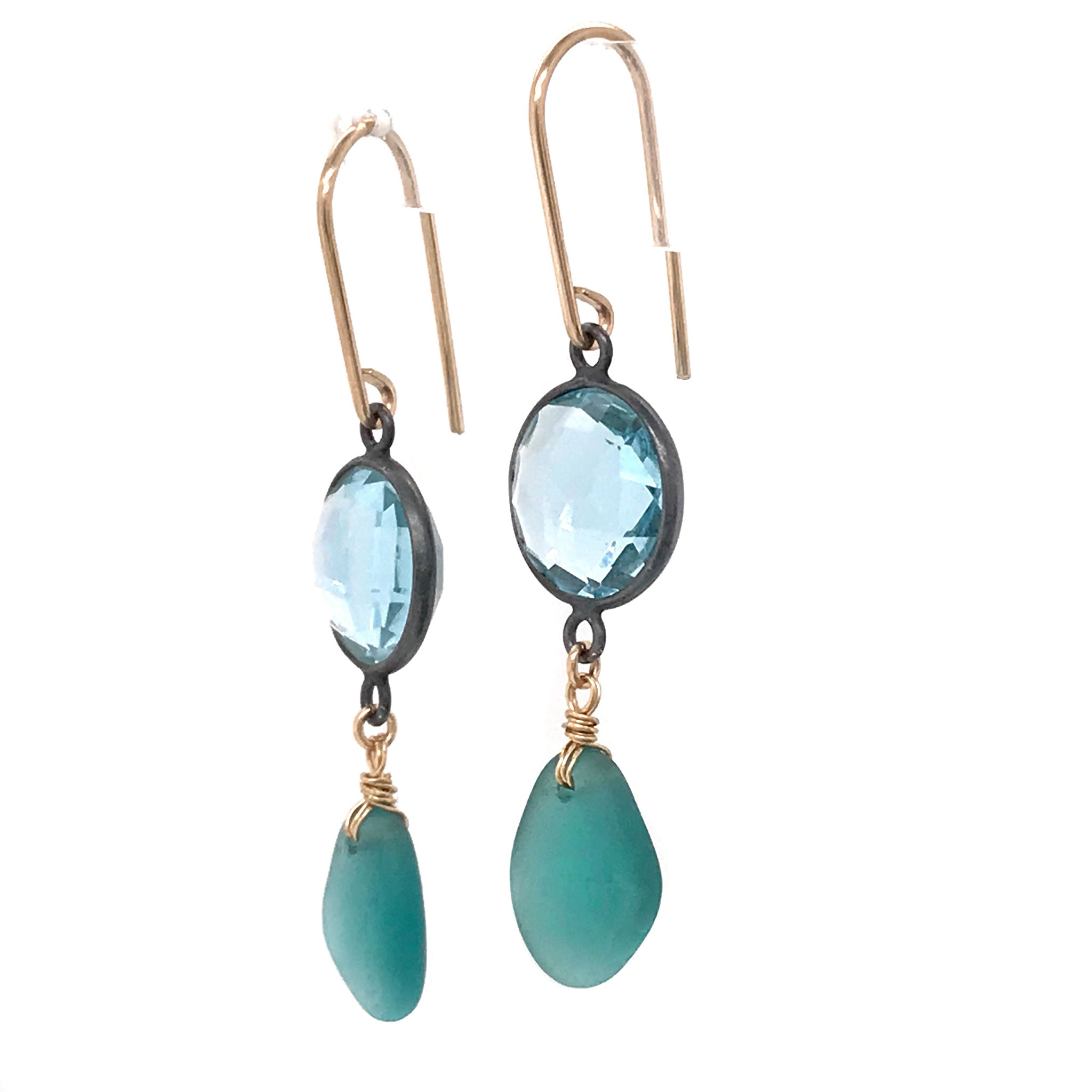 teal seaglass earrings chandelier earrings Kriket Broadhurst jewelry
