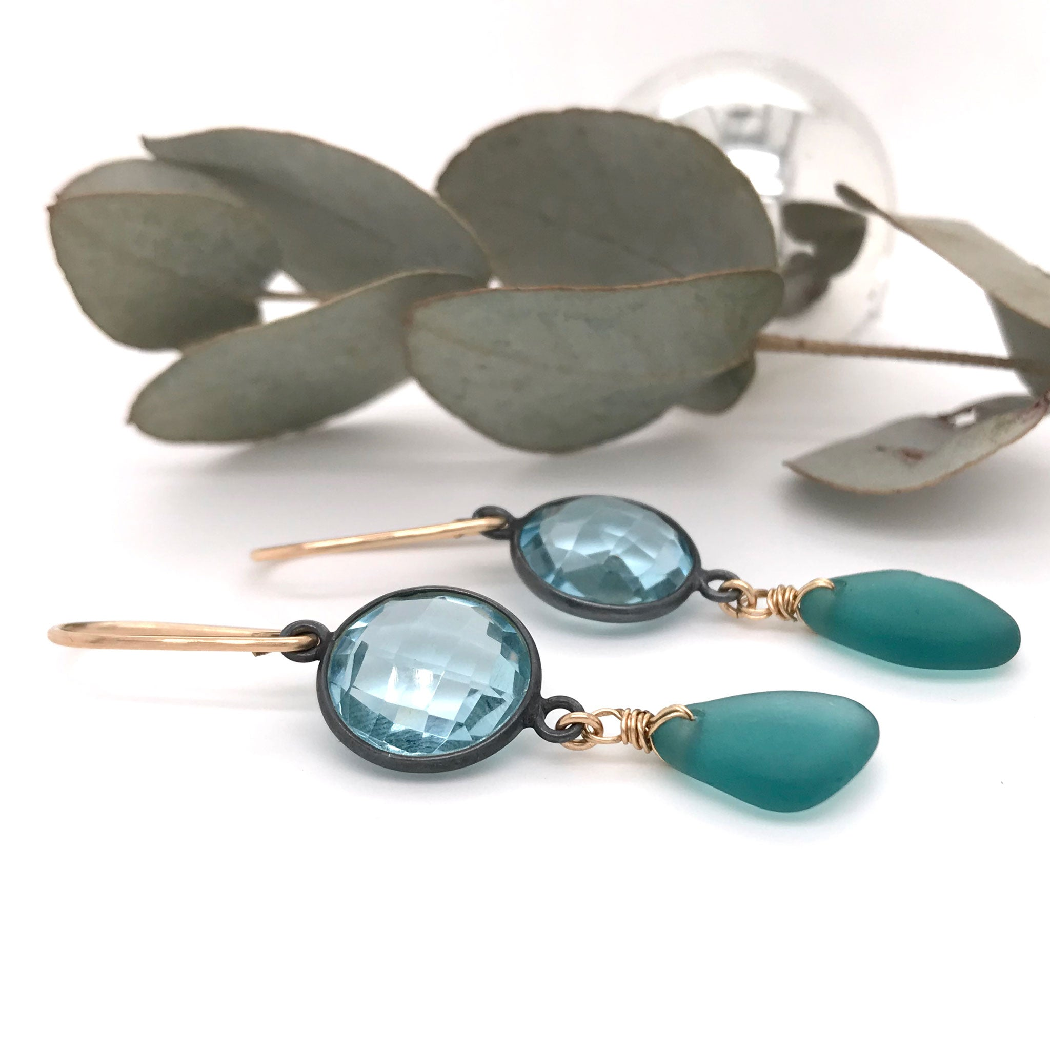 teal seaglass and blue quartz earrings opulent range Kriket Broadhurst jewellery