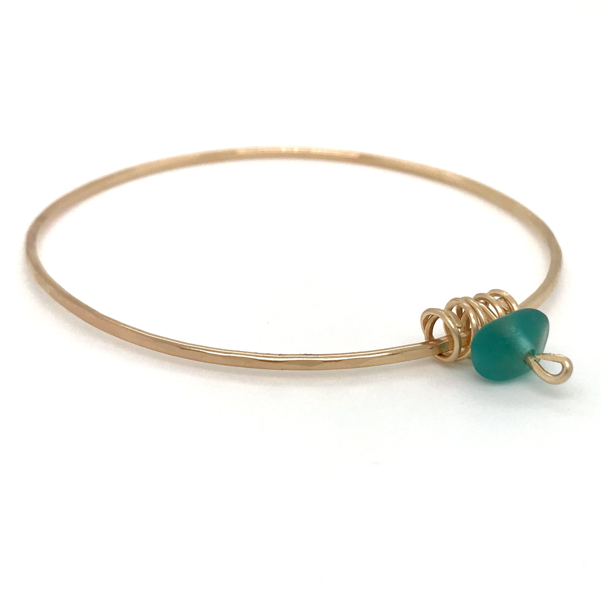 Teal Seaglass Bangle - Gold