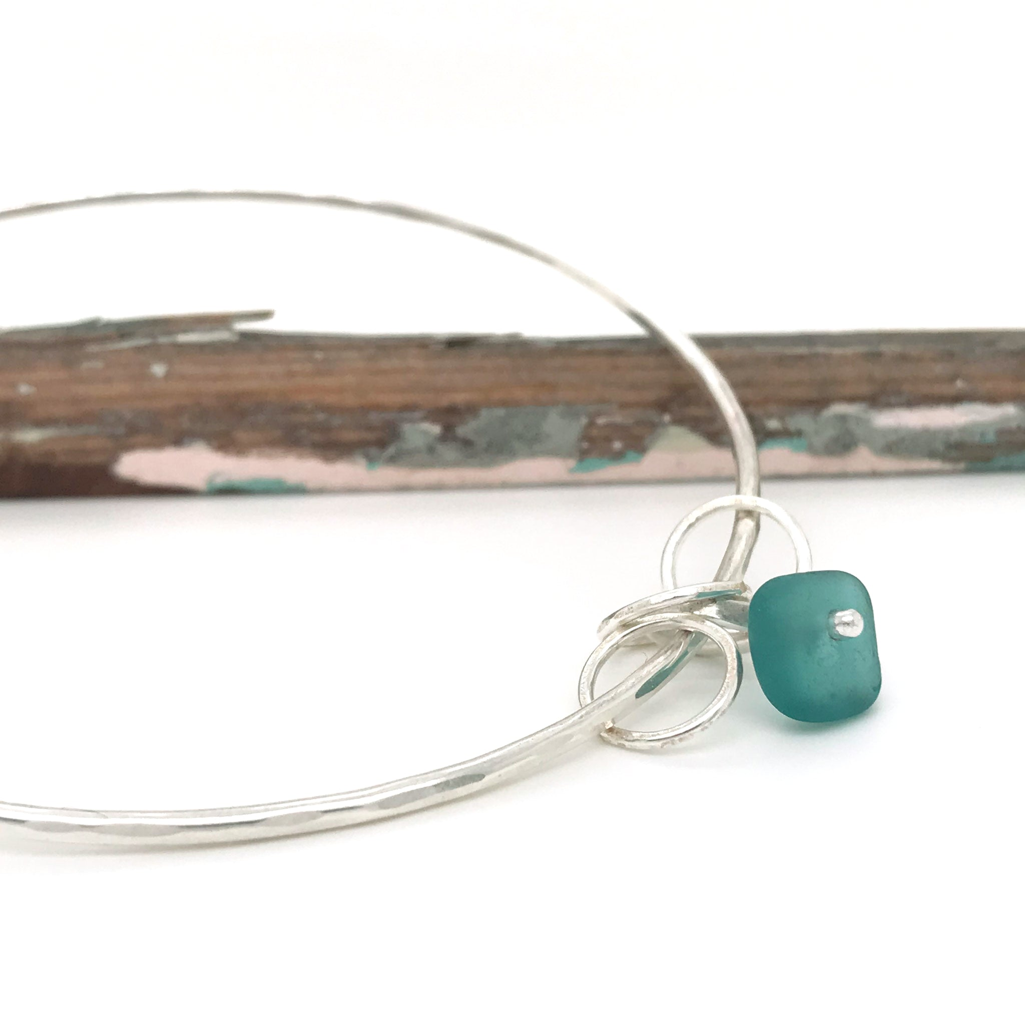 teal seaglass bangle sterling silver Kriket Broadhurst jewellery