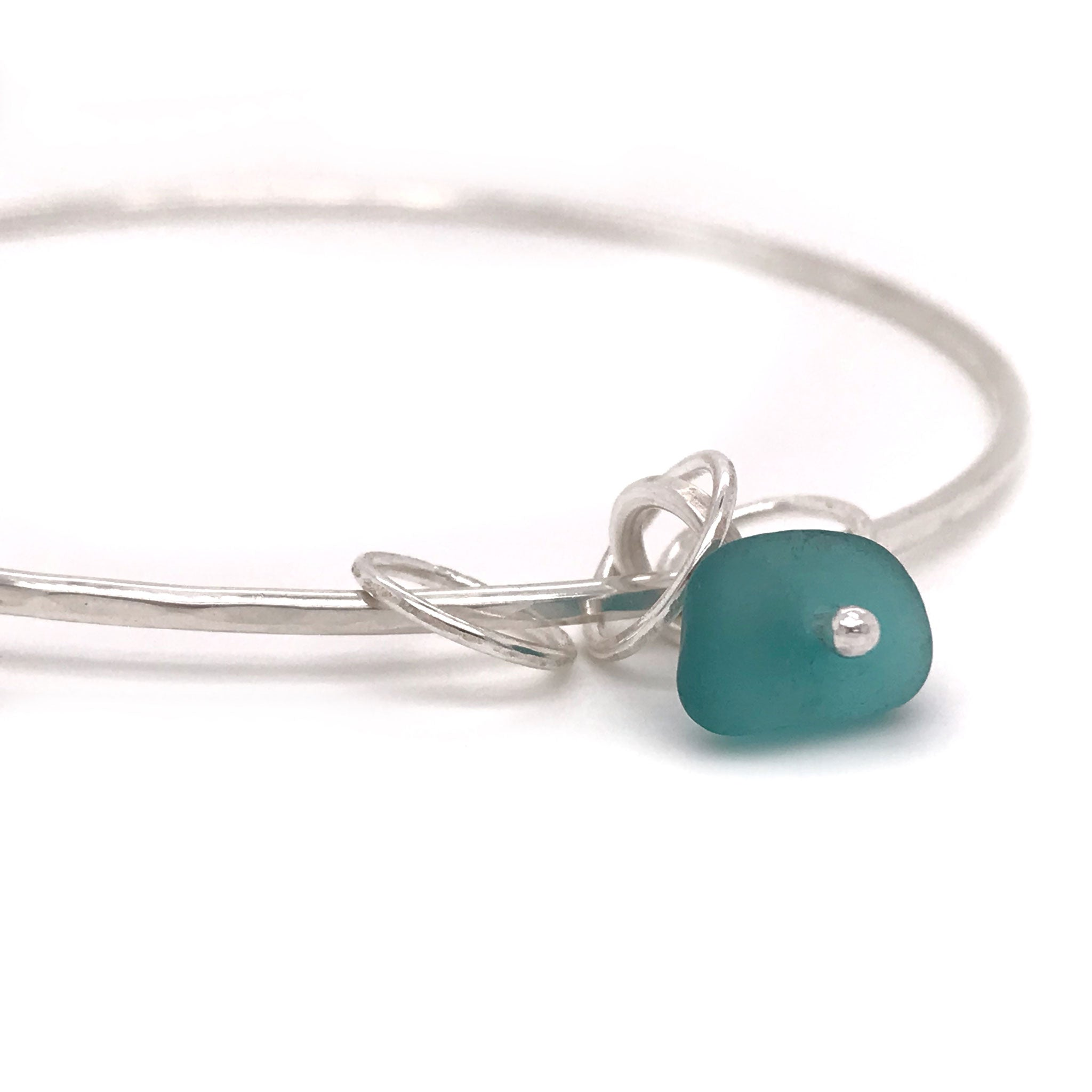 teal seaglass bangle sterling silver with three silver rings Kriket Broadhurst jewelry