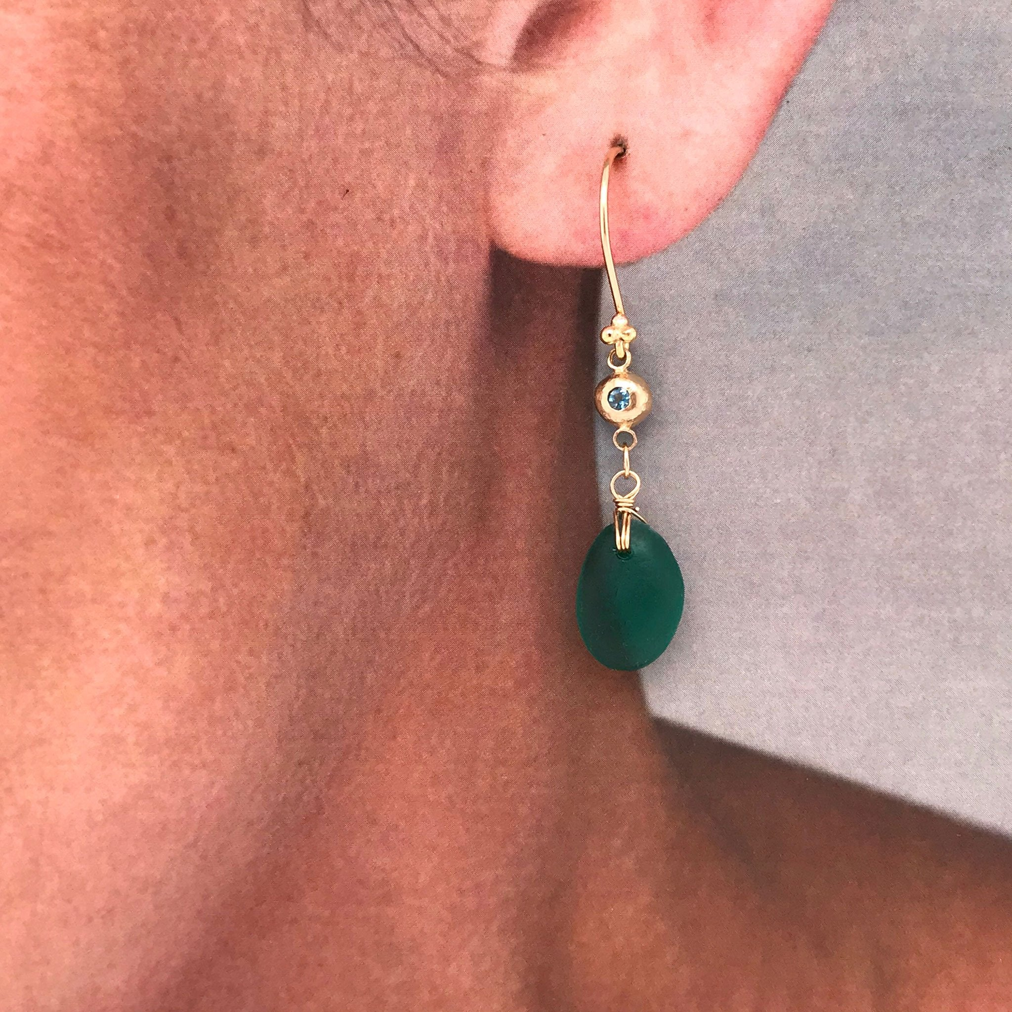teal seaglass on 14k gold earrings with tourmalines Kriket Broadhurst jewellery