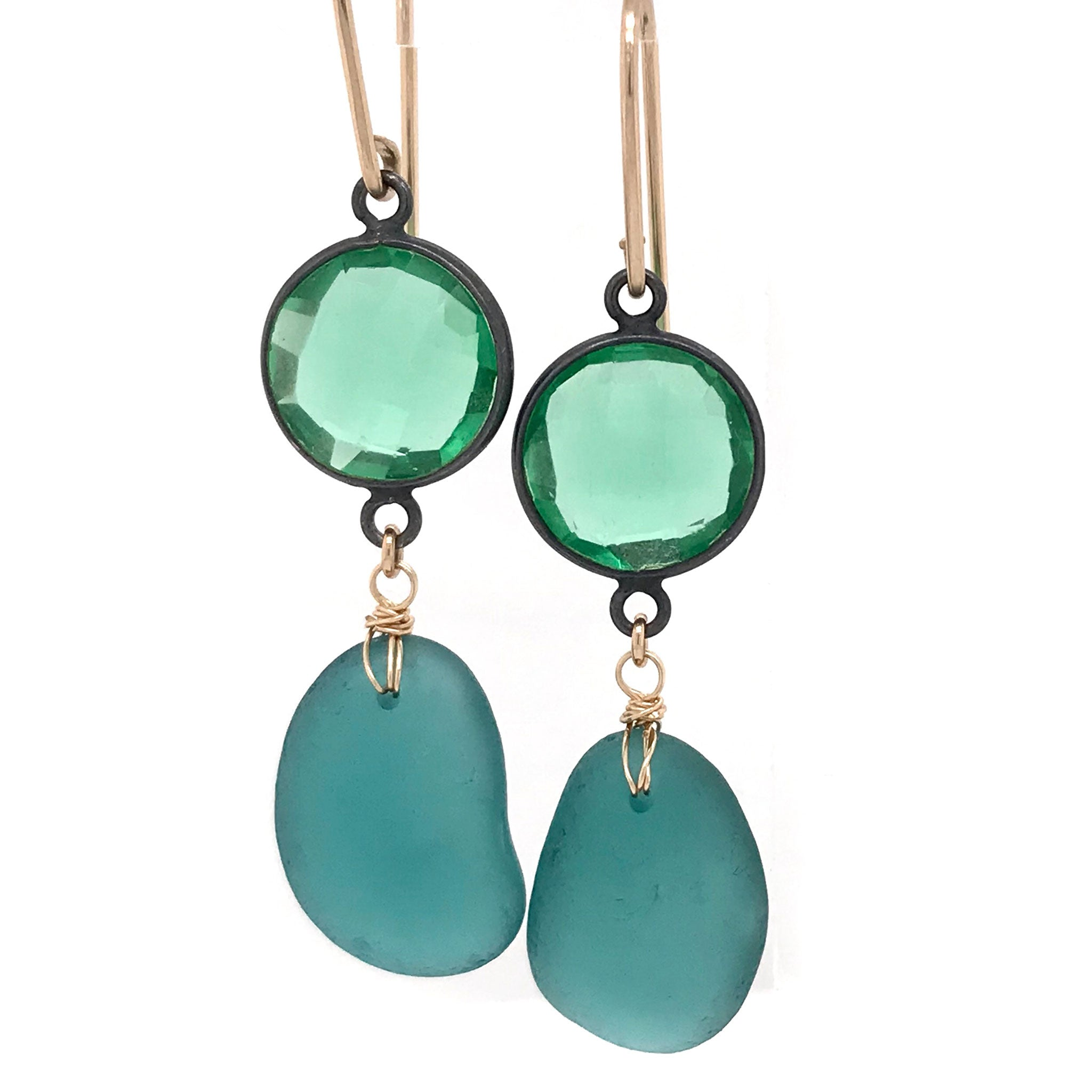 large dangly green earrings with teal seaglass and green quartz kriket broadhurst jewelry christmas gift