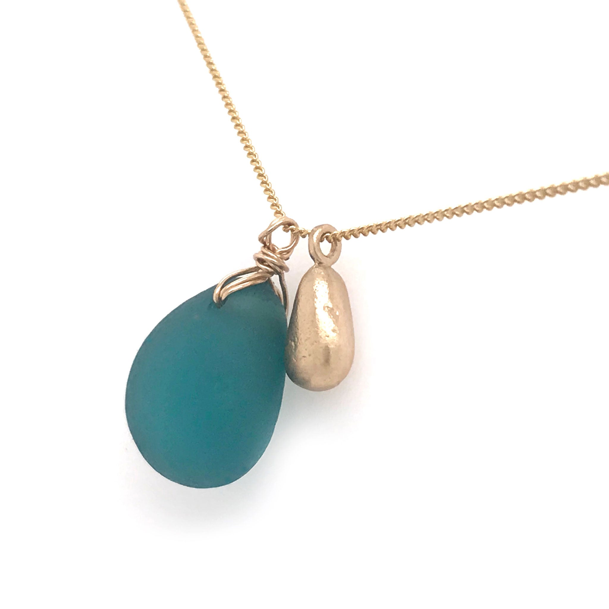 teal seaglass necklace on gold chain with solid 14k gold teardrop charm Kriket Broadhurst jewellery made in Sydney