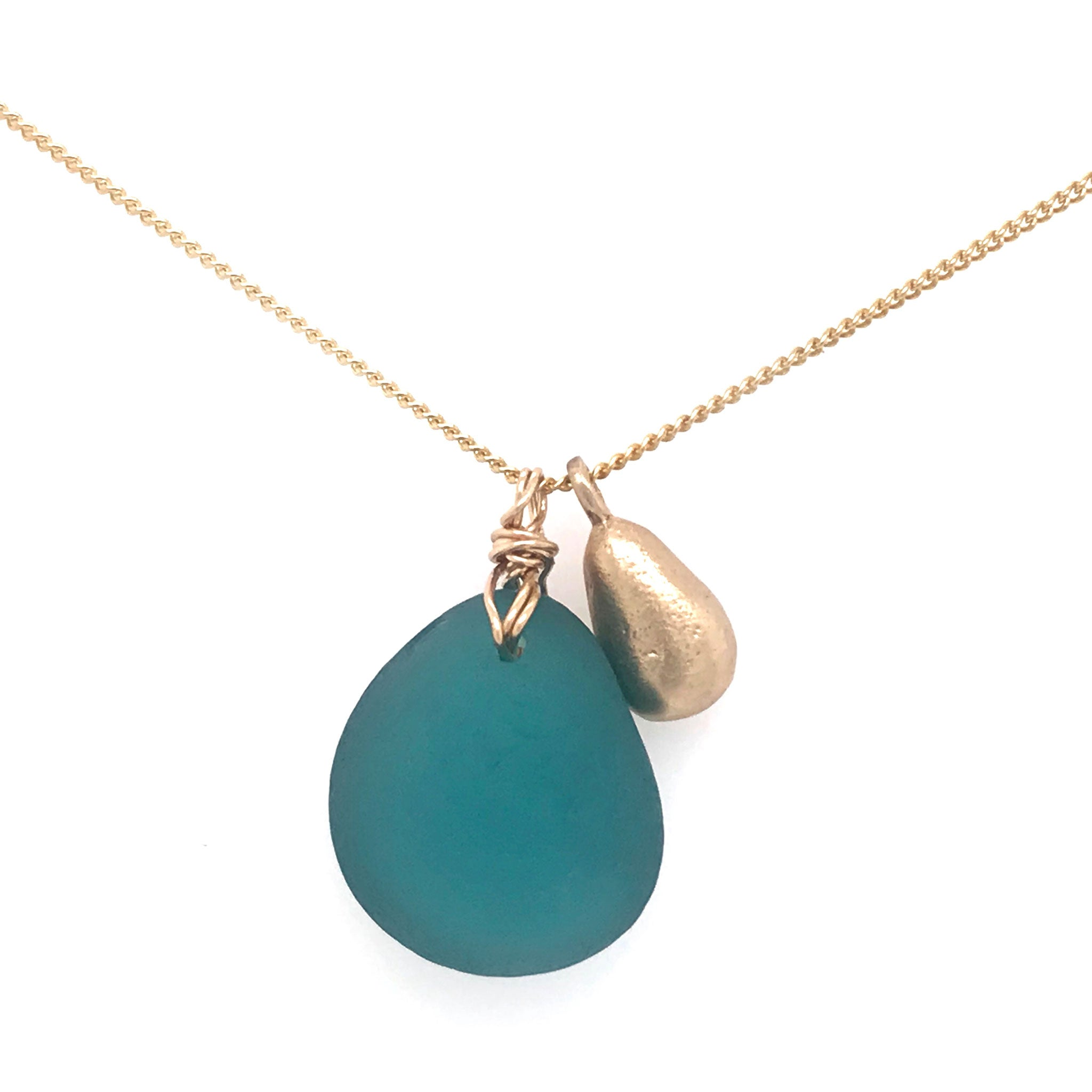 teal seaglass necklace on gold chain with solid 14k gold teardrop charm Kriket Broadhurst handmade jewellery