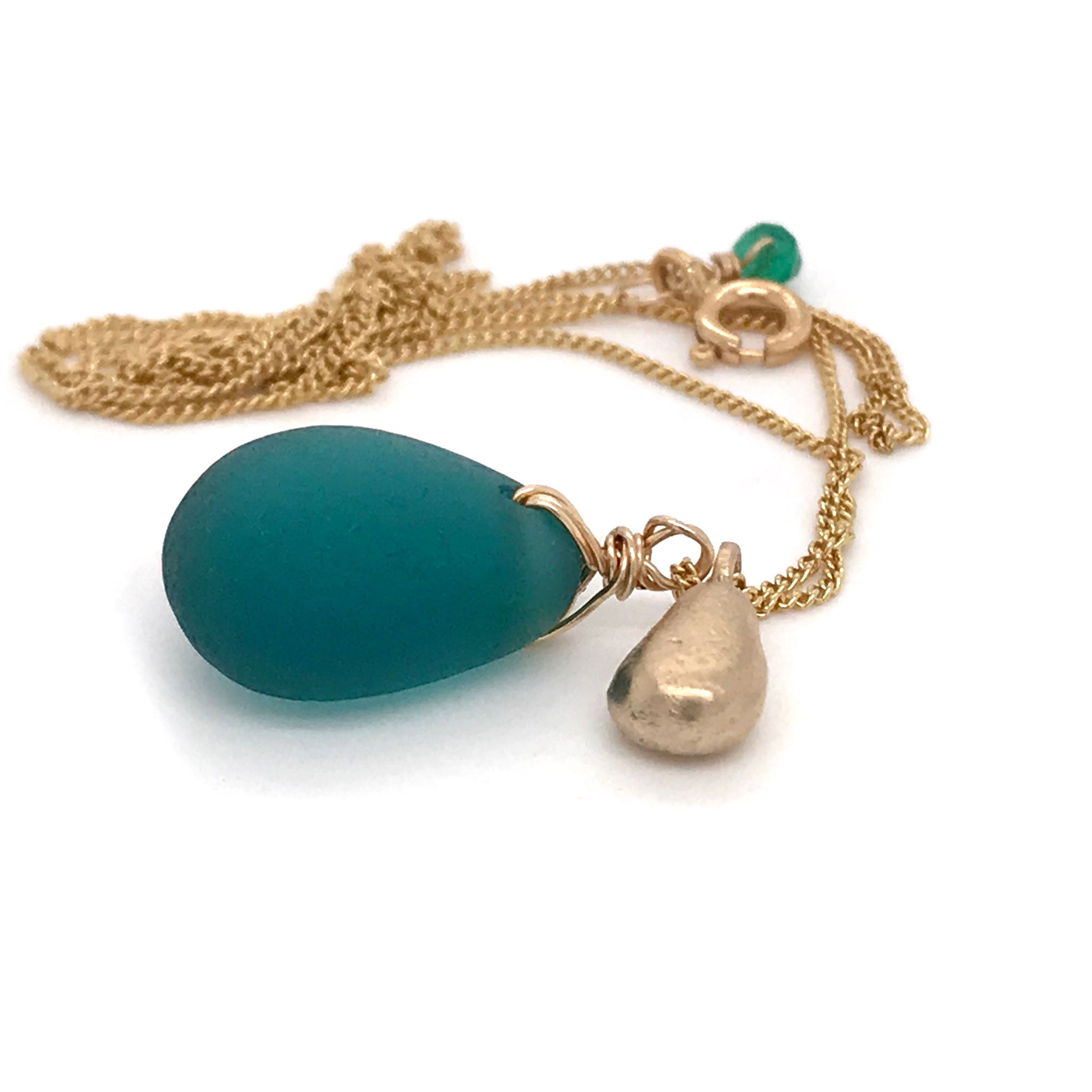 teal seaglass necklace on gold chain with solid 14k gold teardrop charm Kriket Broadhurst jewelry