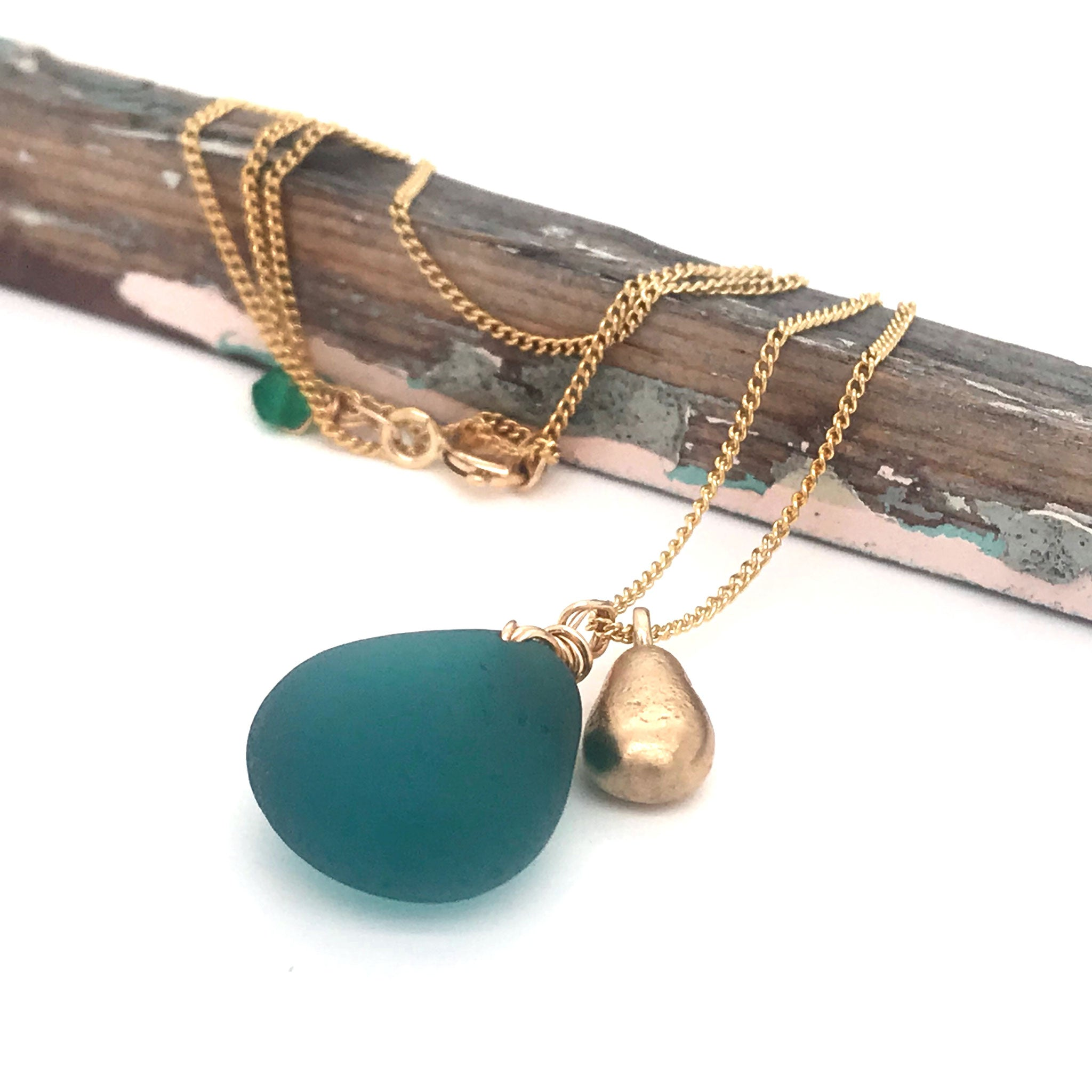 teal seaglass necklace on gold chain with solid 14k gold teardrop charm Kriket Broadhurst jewellery Christmas gift
