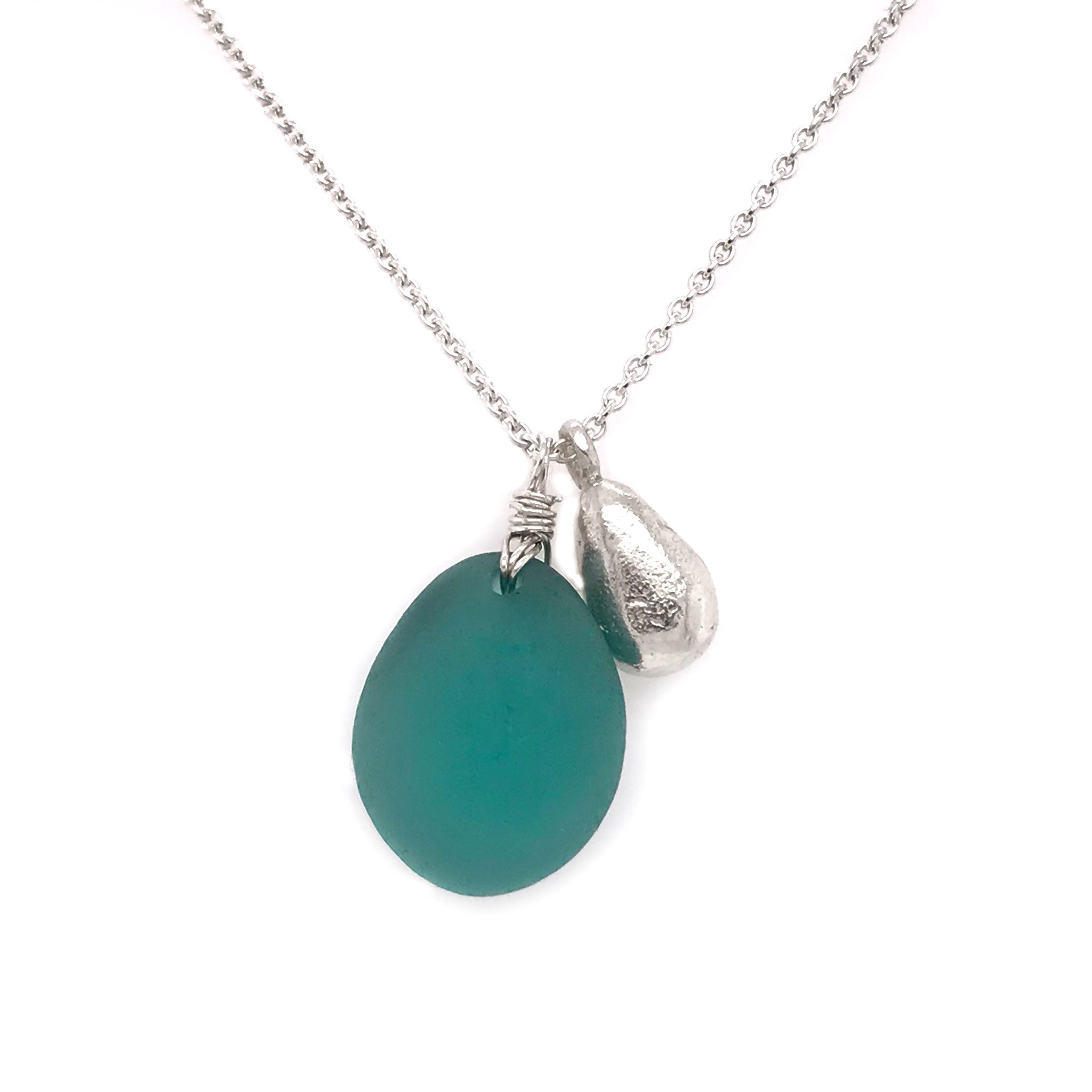 teal seaglass necklace on sterling silver chain with solid silver teardrop charm Kriket Broadhurst jewellery Christmas gift