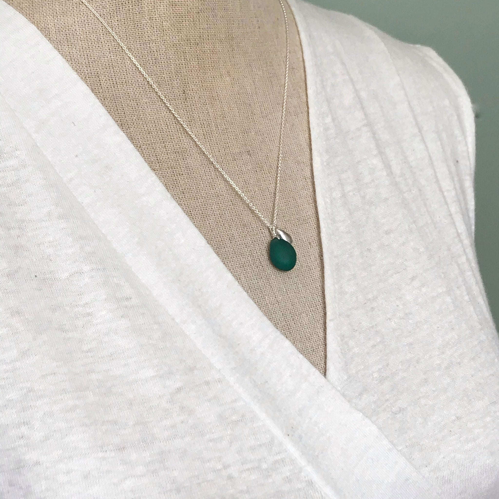 teal seaglass necklace on sterling silver chain with solid silver teardrop charm Kriket Broadhurst jewellery Australian Made