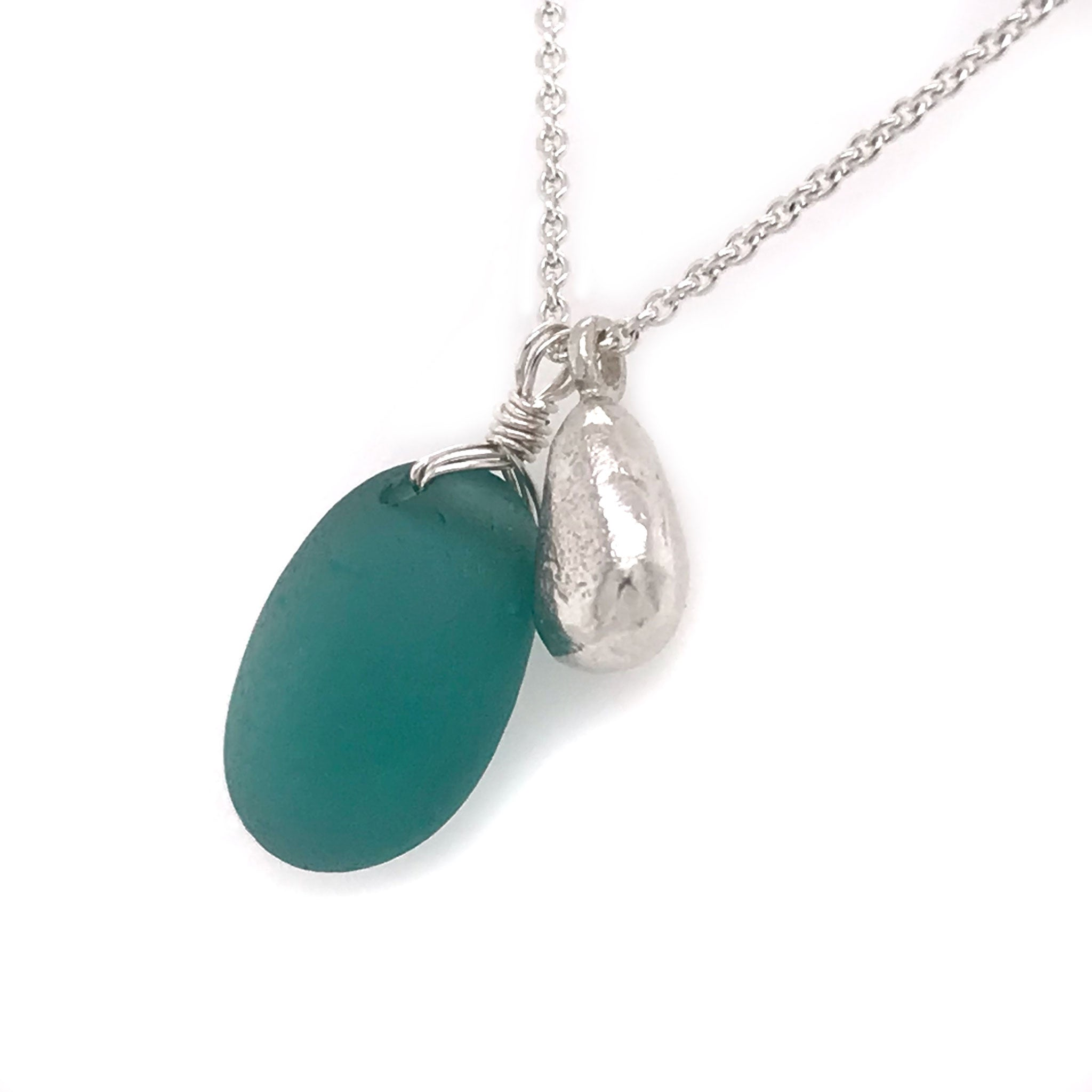 teal seaglass necklace on sterling silver chain with solid silver teardrop charm Kriket Broadhurst jewellery made in Sydney
