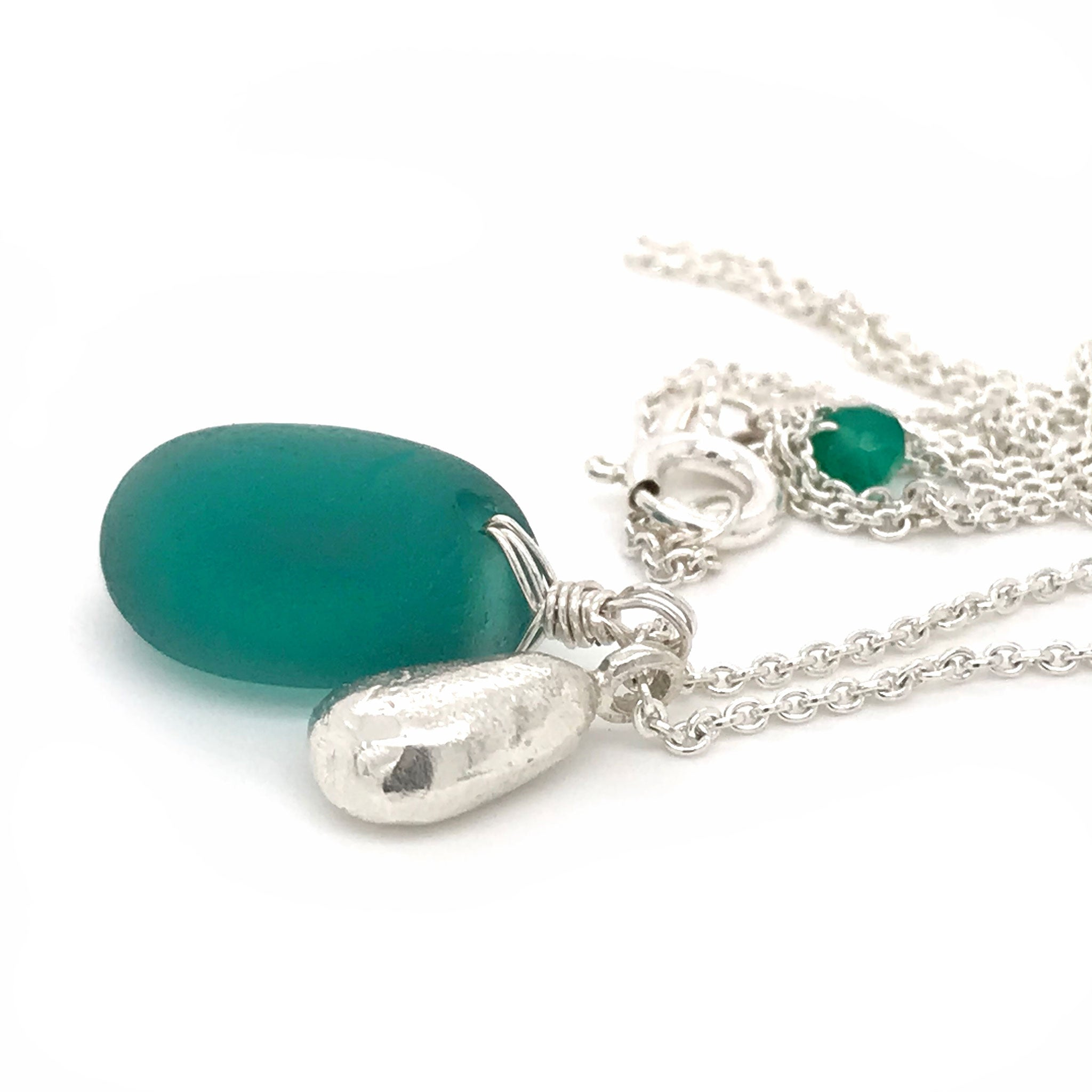 teal green seaglass necklace on sterling silver chain with solid silver teardrop charm Kriket Broadhurst jewellery gift for wife