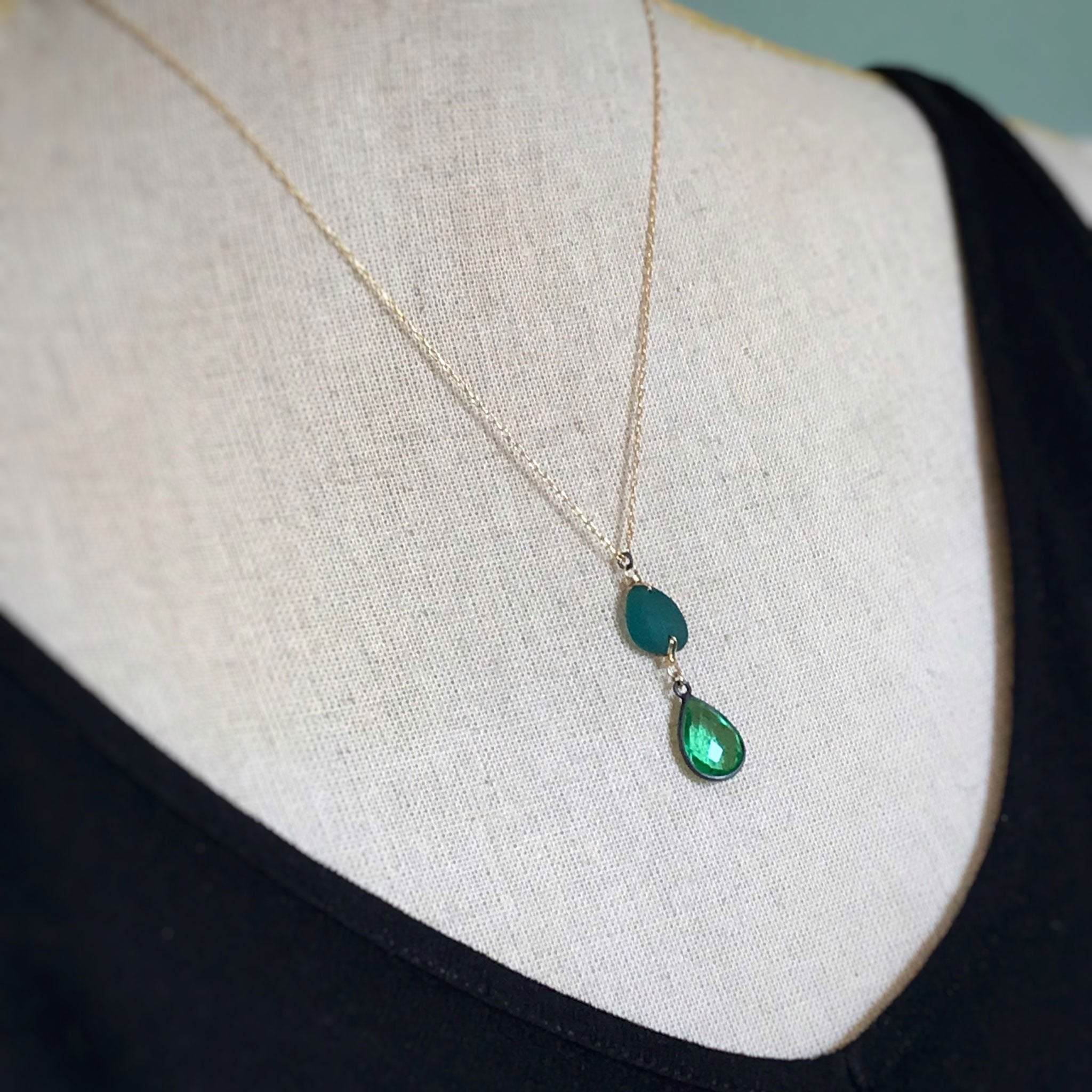 sparkly green necklace with teal seaglass and green quartz kriket Broadhurst jewellery