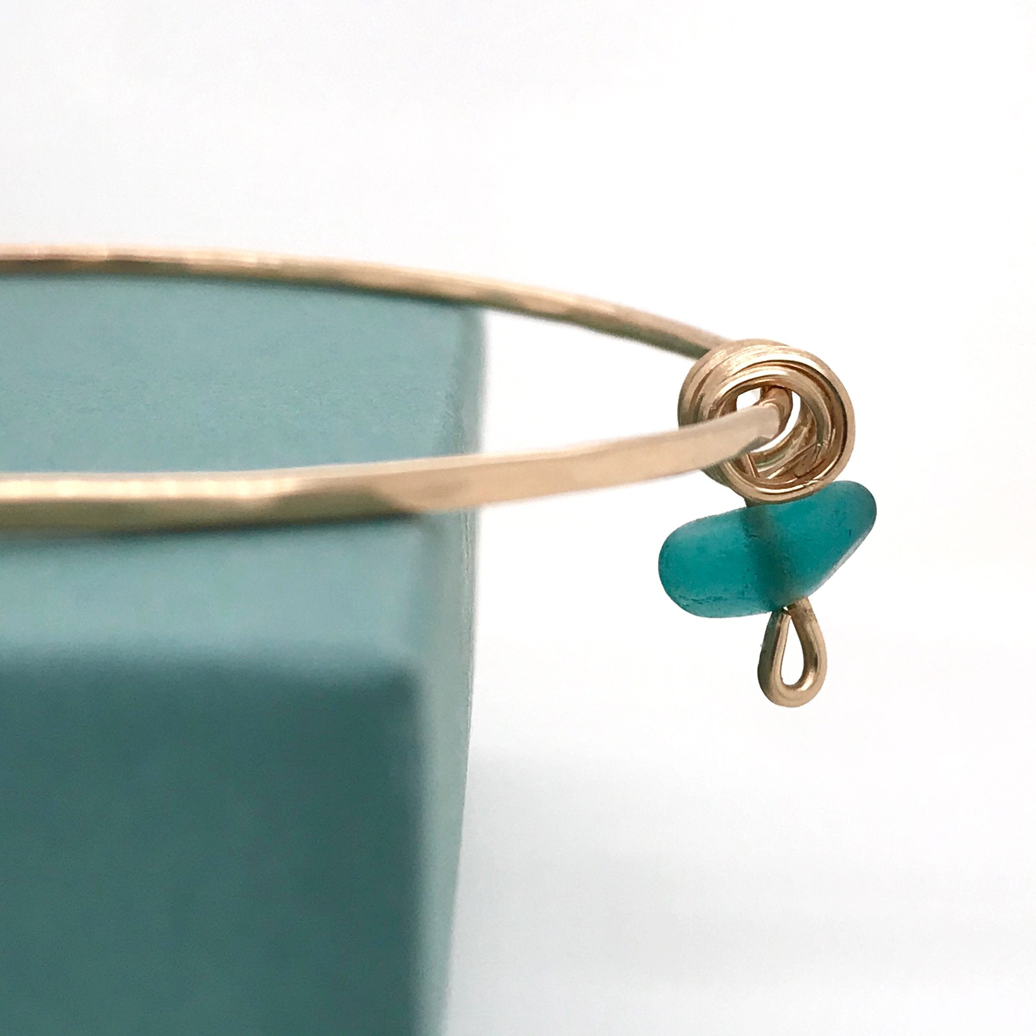 teal seaglass bangle gold Kriket Broadhurst jewellery