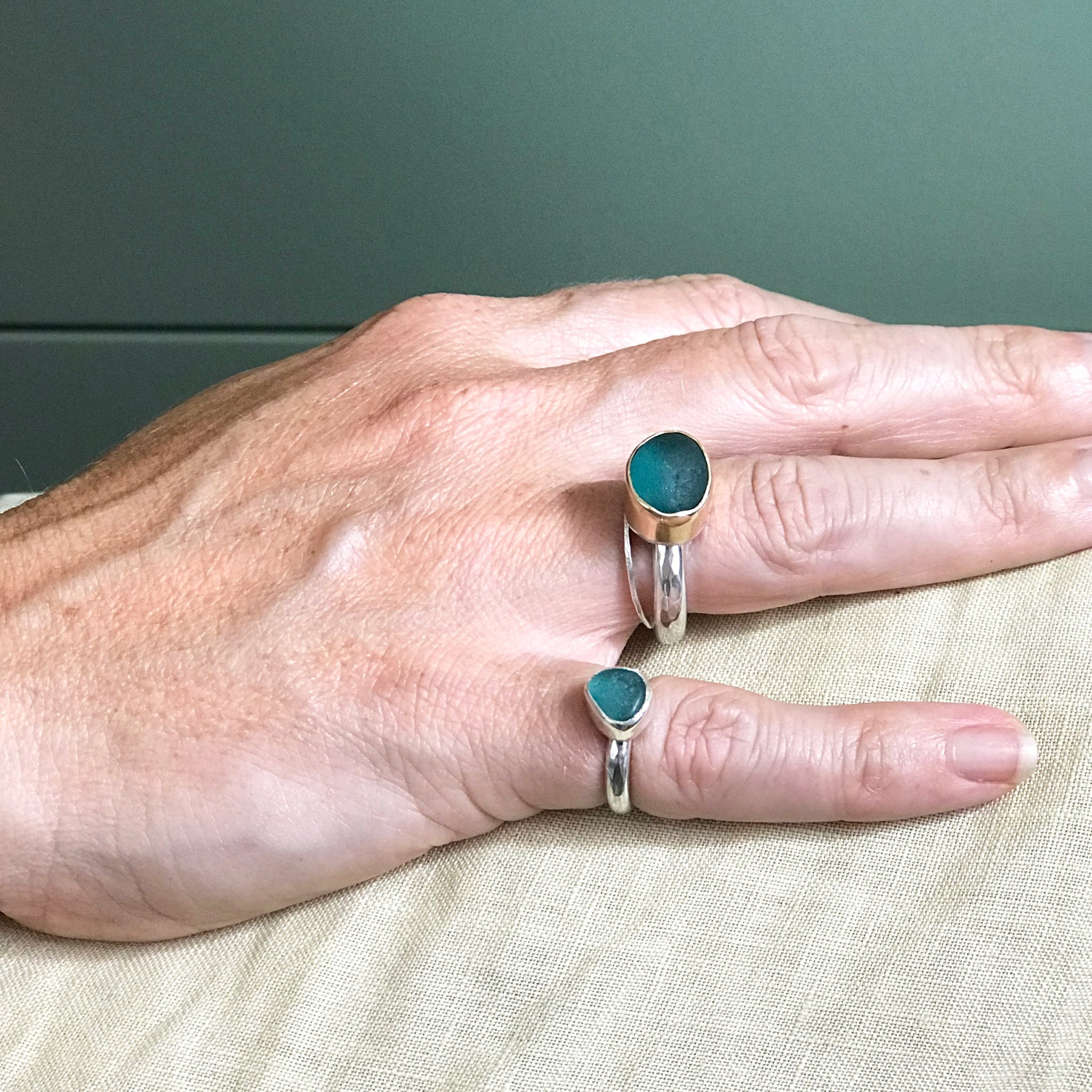 teal seaglass rings set in silver