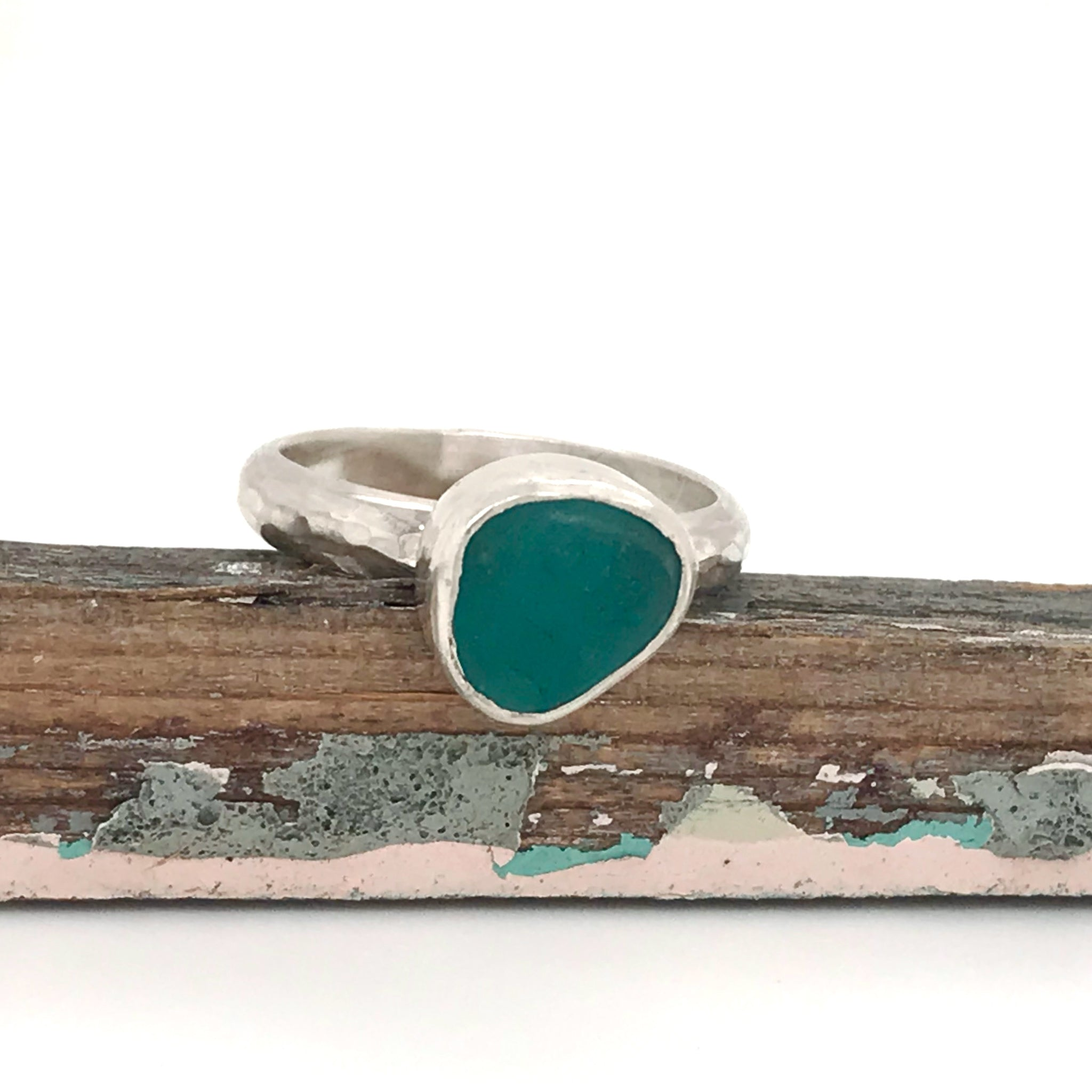 Small Teal Seaglass Ring – Sterling Silver Shank and Bezel – Made to Order