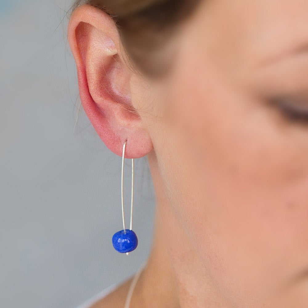 Long Silver Earrings with Cornflower Blue Ceramic Beads - kriket-broadhurst jewelry