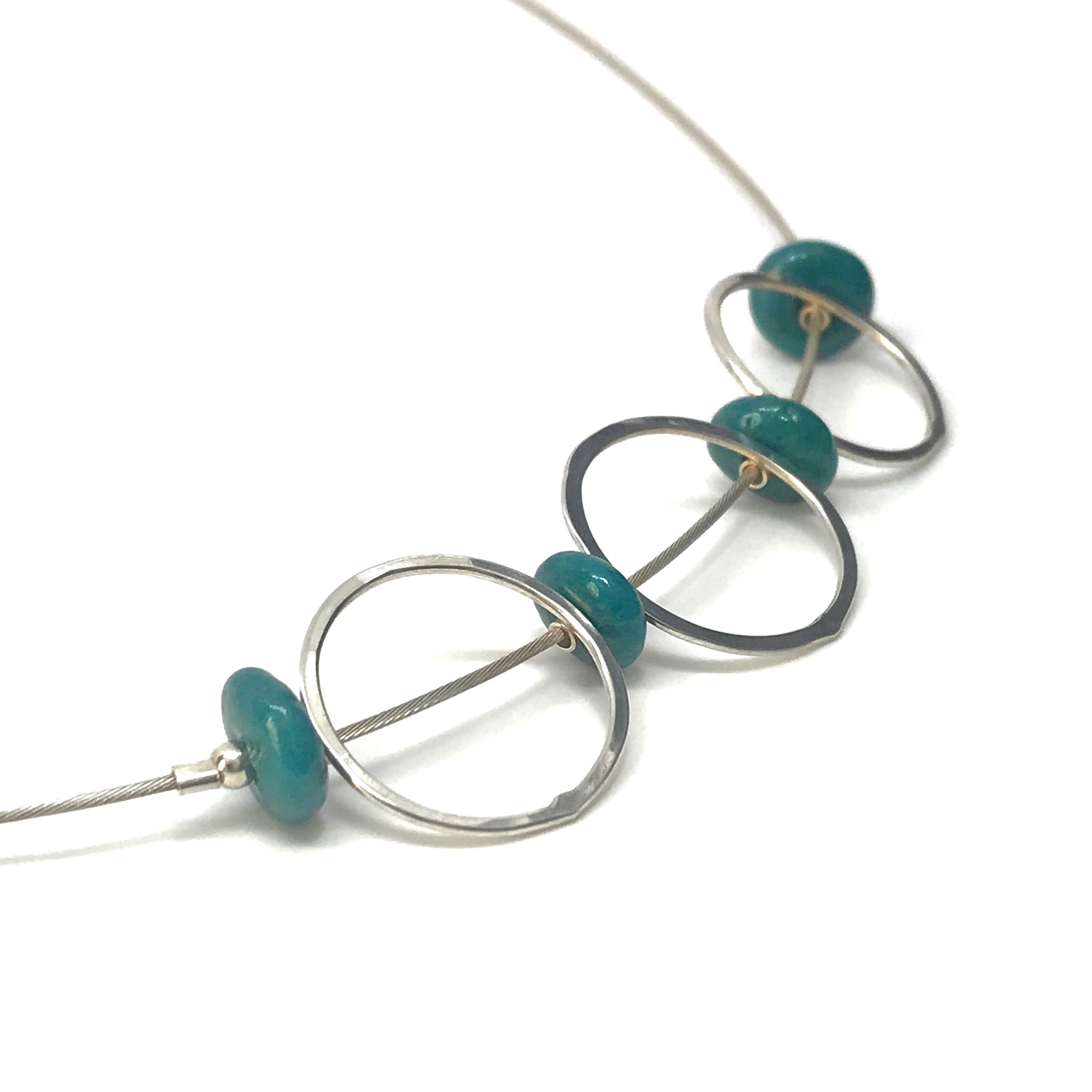 Silver Necklace with Green Ceramic Beads and Matte Hammered Hoops - kriket-broadhurst jewellery