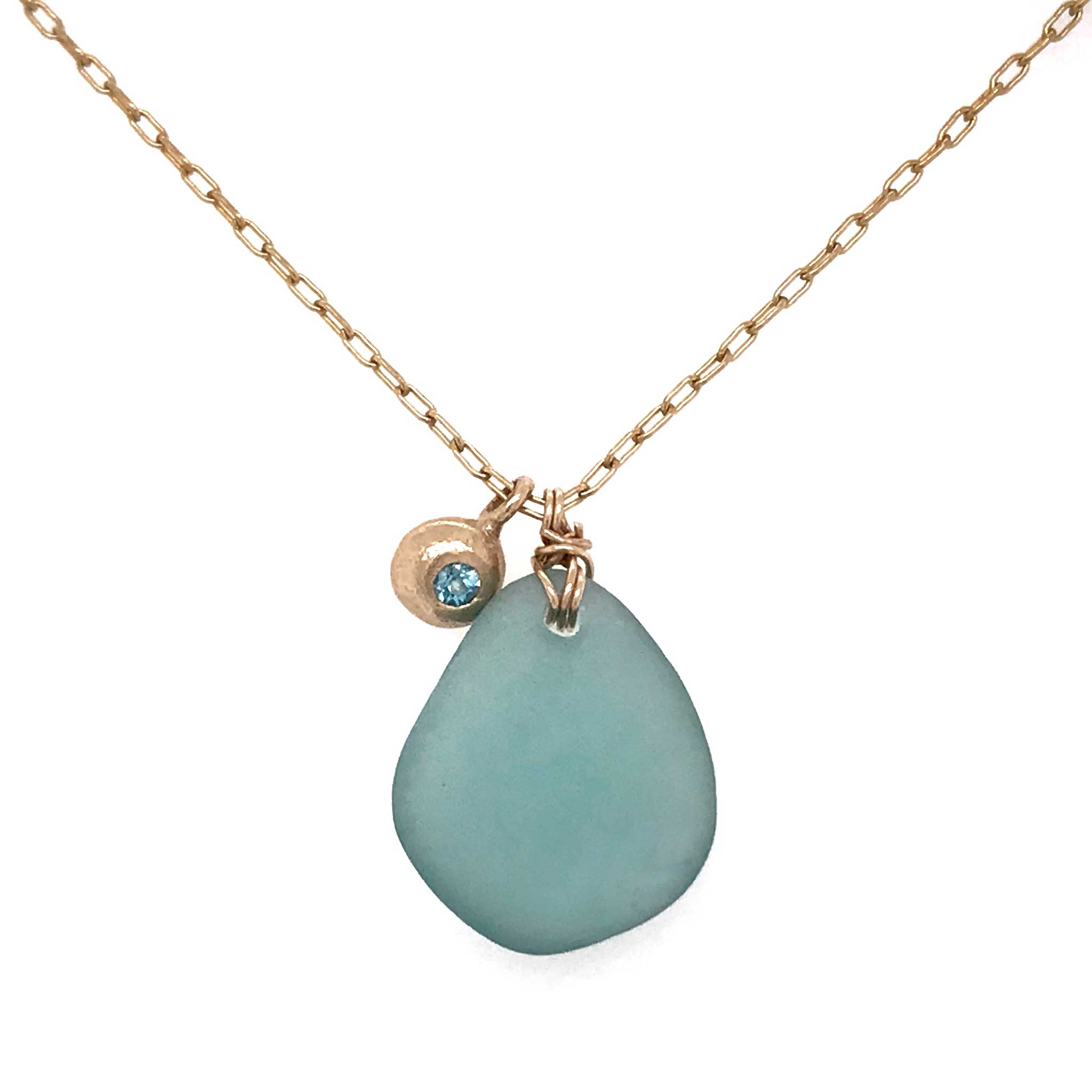 aqua blue beach glass with gold charm and london blue topaz stone kriket broadhurst jewellery gifts for women Sydney