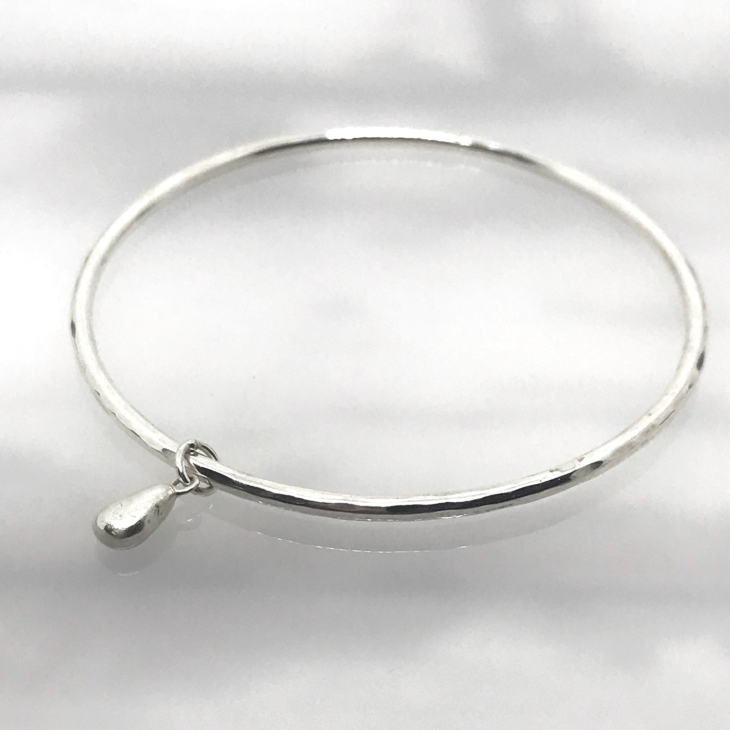 Silver Bangle with Solid Silver Seaglass Charm - kriket broadhurst jewellery