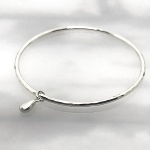 Silver Seaglass Charm Bangle