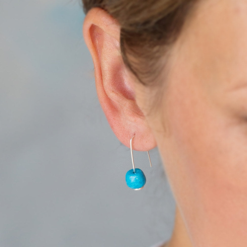 Sterling Silver Earrings with Turquoise Ceramic Bead - kriket broadhurst jewellery