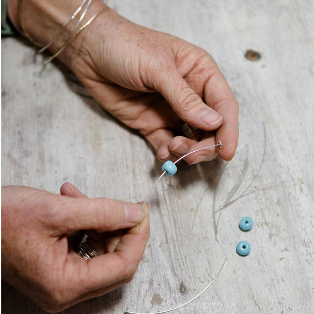Turquoise Ceramic Barrel Beads - kriket-broadhurst jewellery